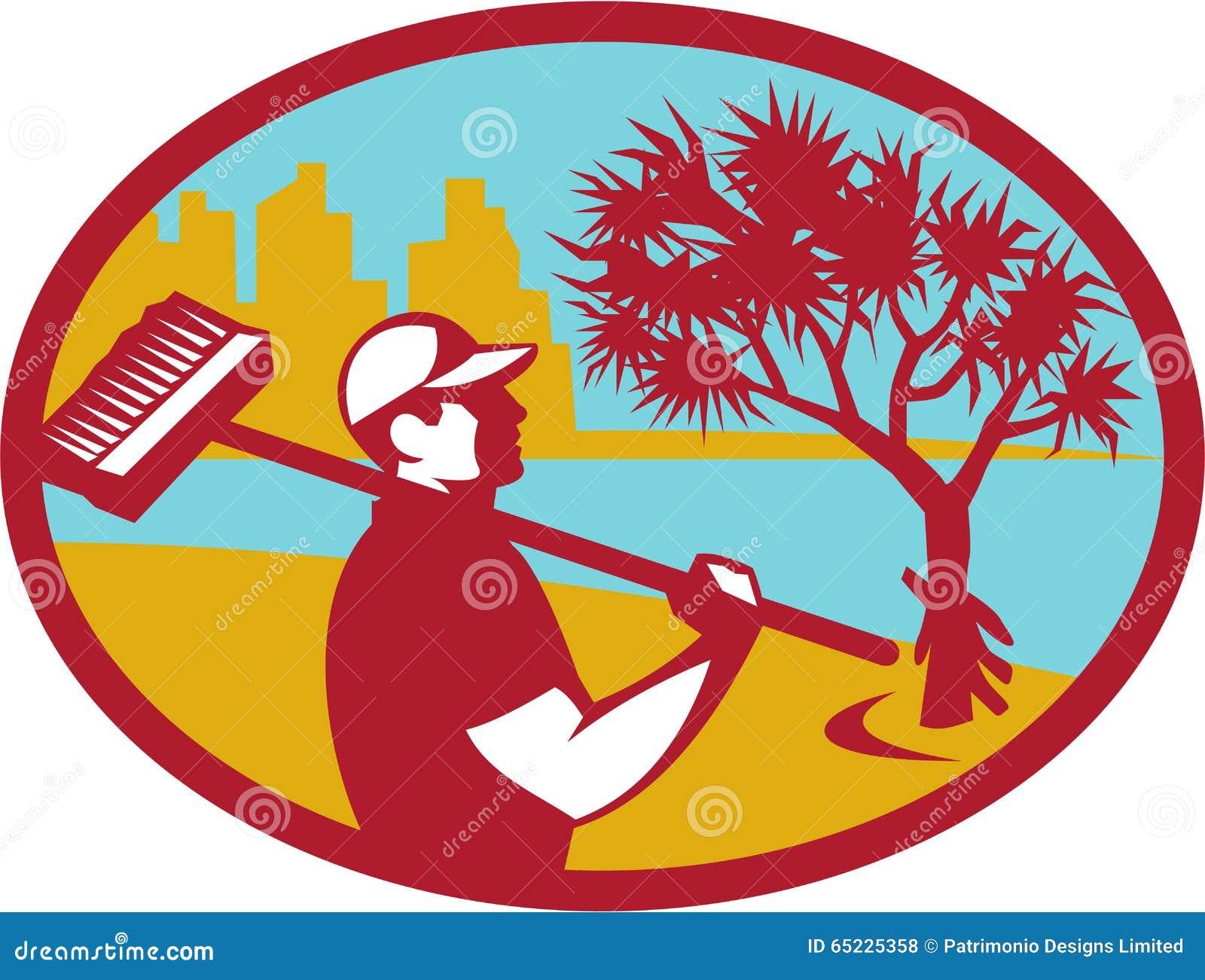 Czysty pandanowa drzewa wybrzeża owal Retro