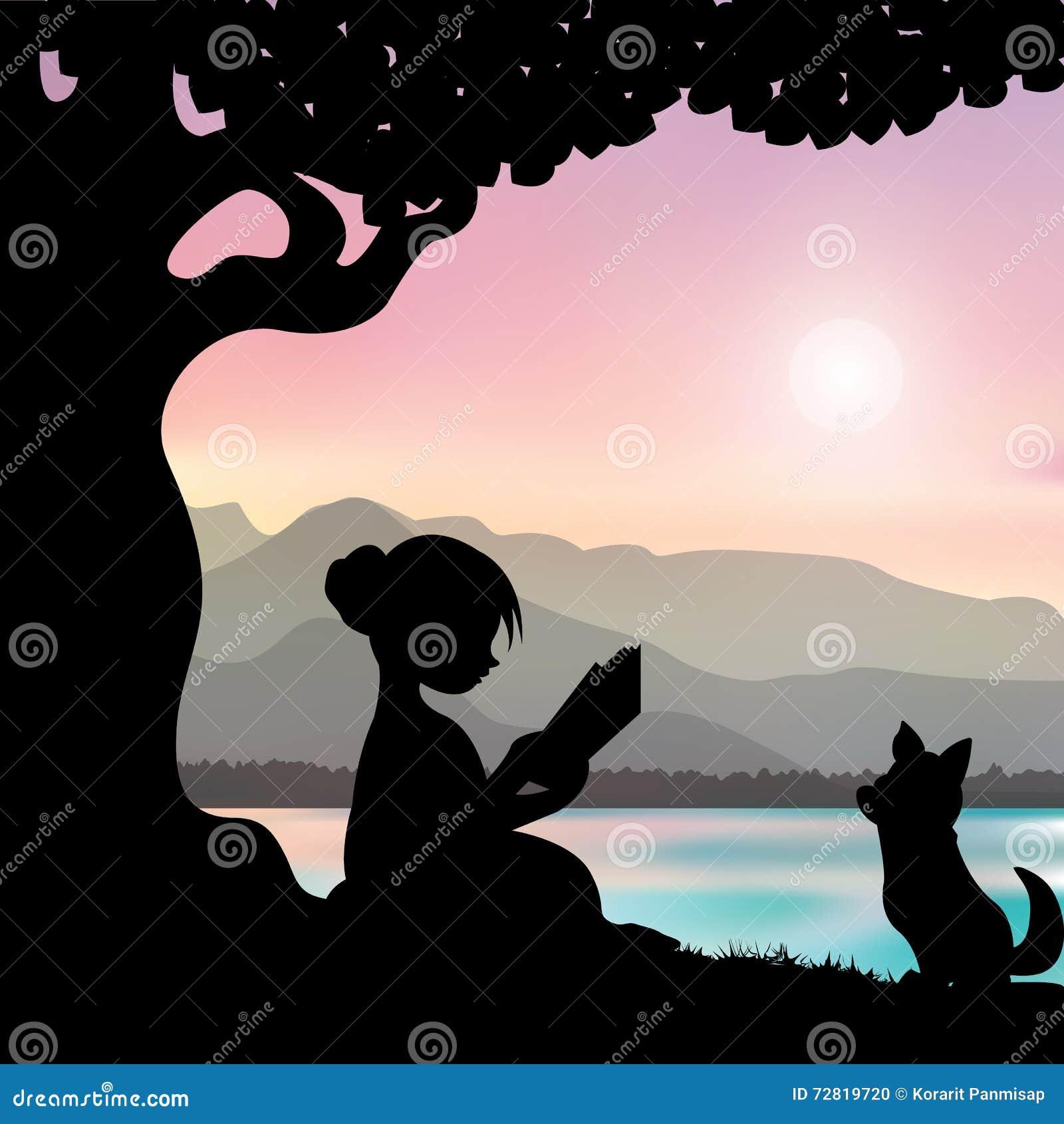 Czytać książkę pod drzewem, Wektorowe ilustracje