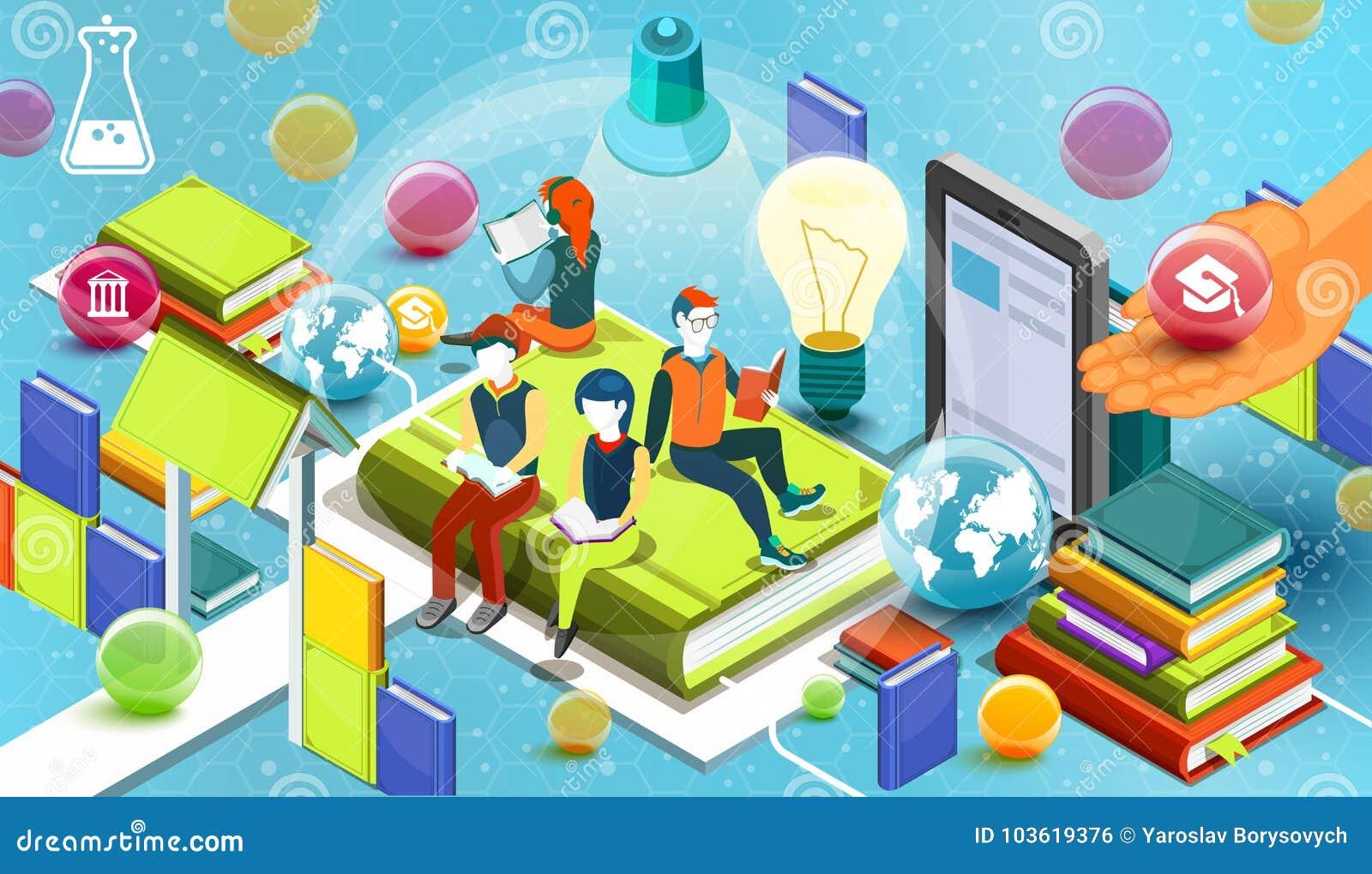Czytelniczy ludzie pojęcie edukacyjny Online biblioteka Online edukaci isometric płaski projekt na błękitnym tle wektor