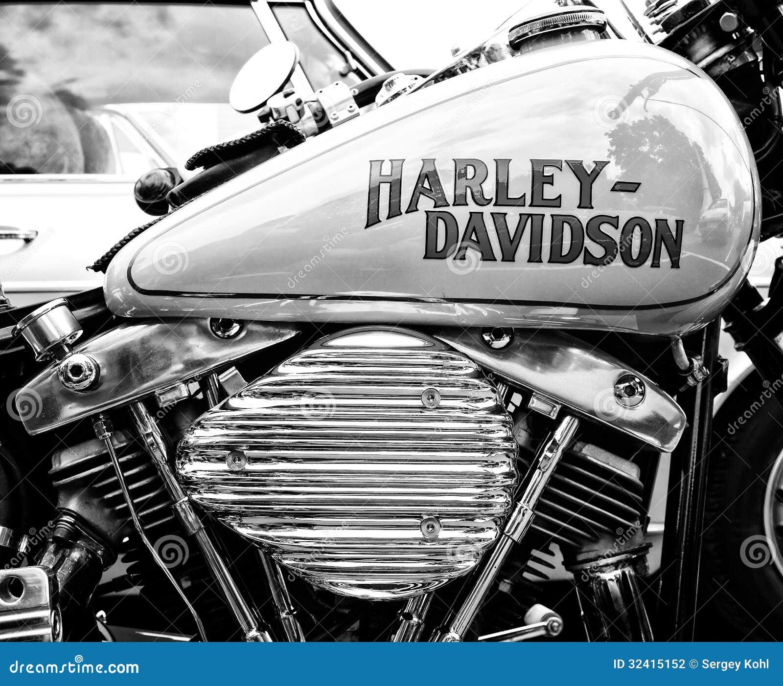 Extrêmement Détail De La Moto Harley-Davidson (noir Et Blanc) Photographie  HT46