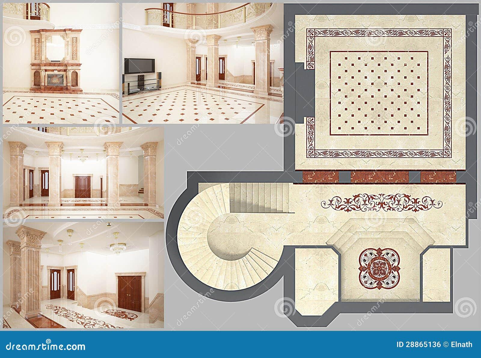 Däckar härligt vardagsrum för tolkningen 3D med mosaiken