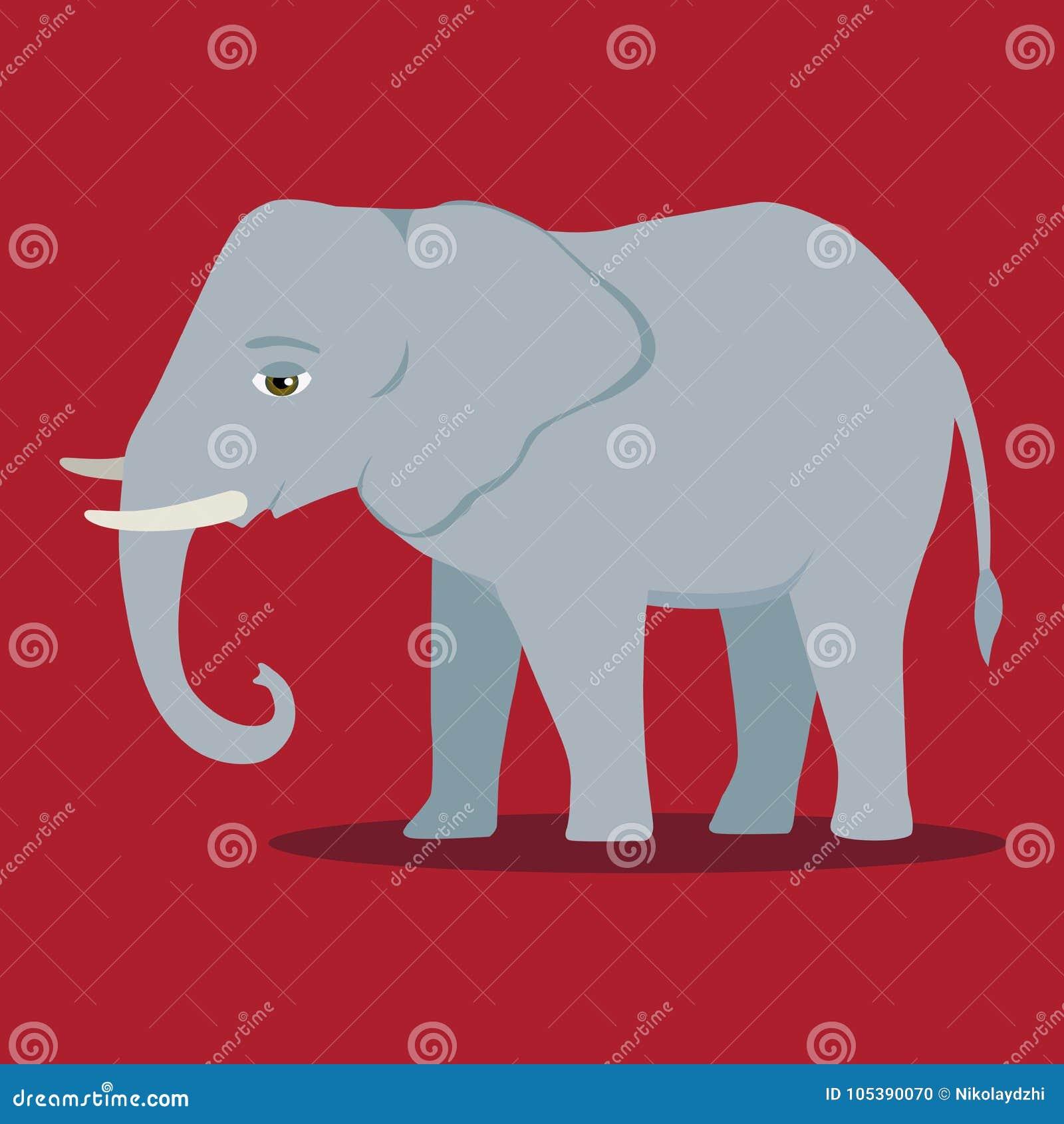 Däggdjur för elefant för svart för symbol för vektortecknad filmkontur stort