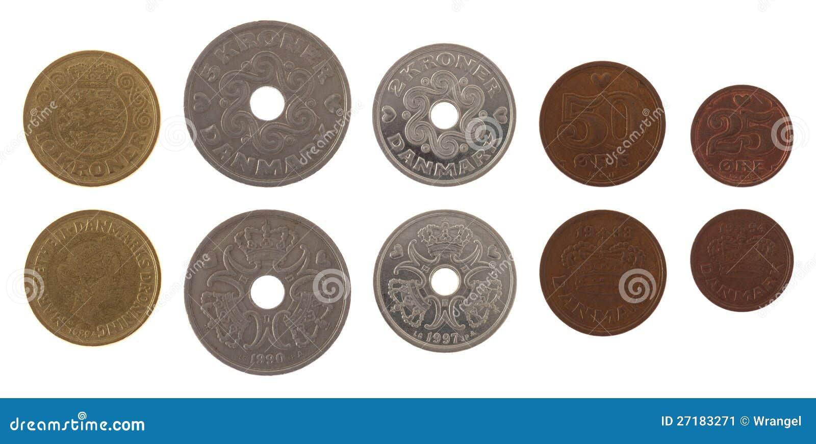 Dänische Münzen Getrennt Auf Weiß Stockbild Bild Von Metall