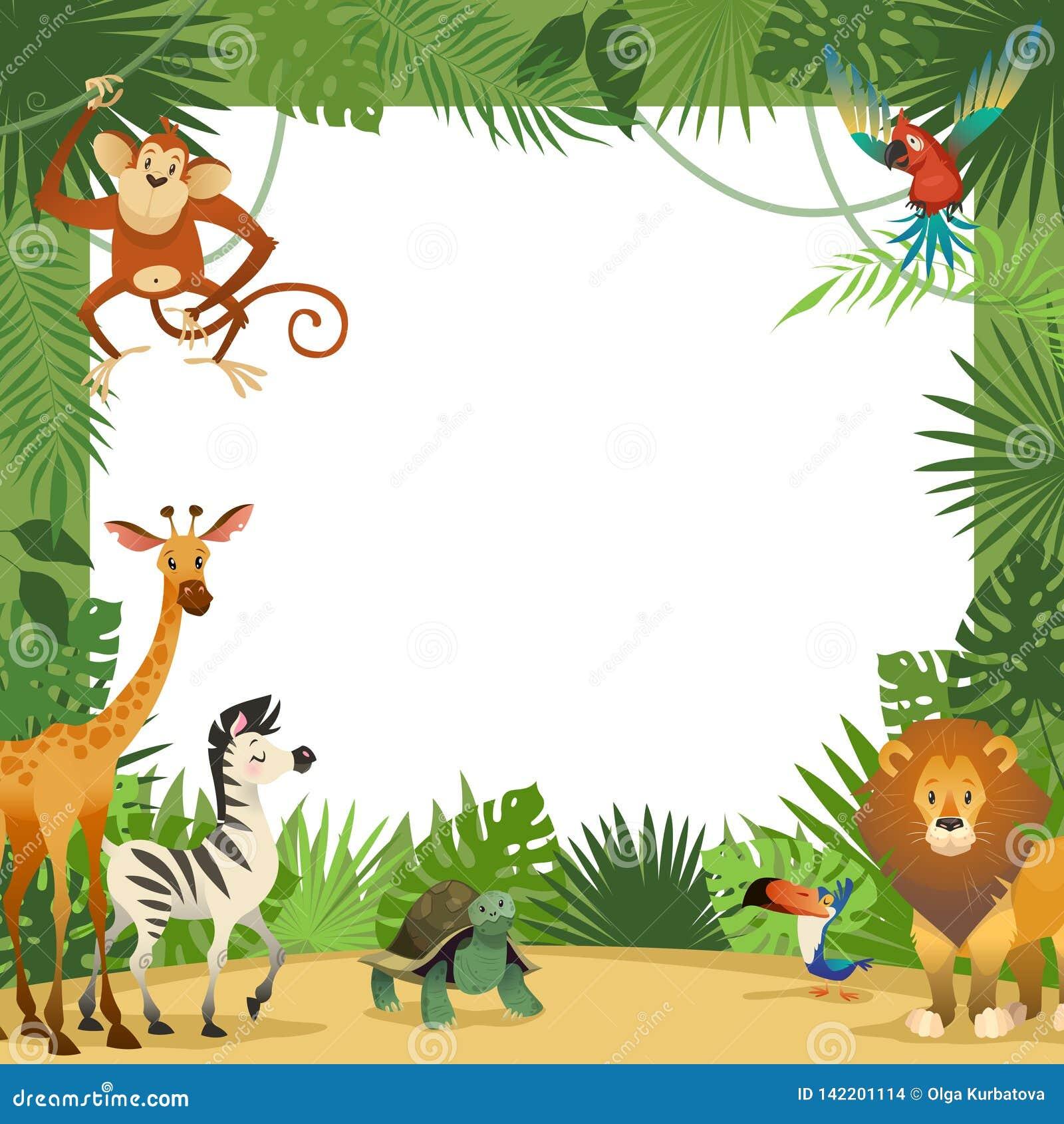 Dżungli zwierząt karta Ramowi zwierzęcy tropikalni liście wita dziecko sztandaru zoo granicy szablon bawją się dzieci