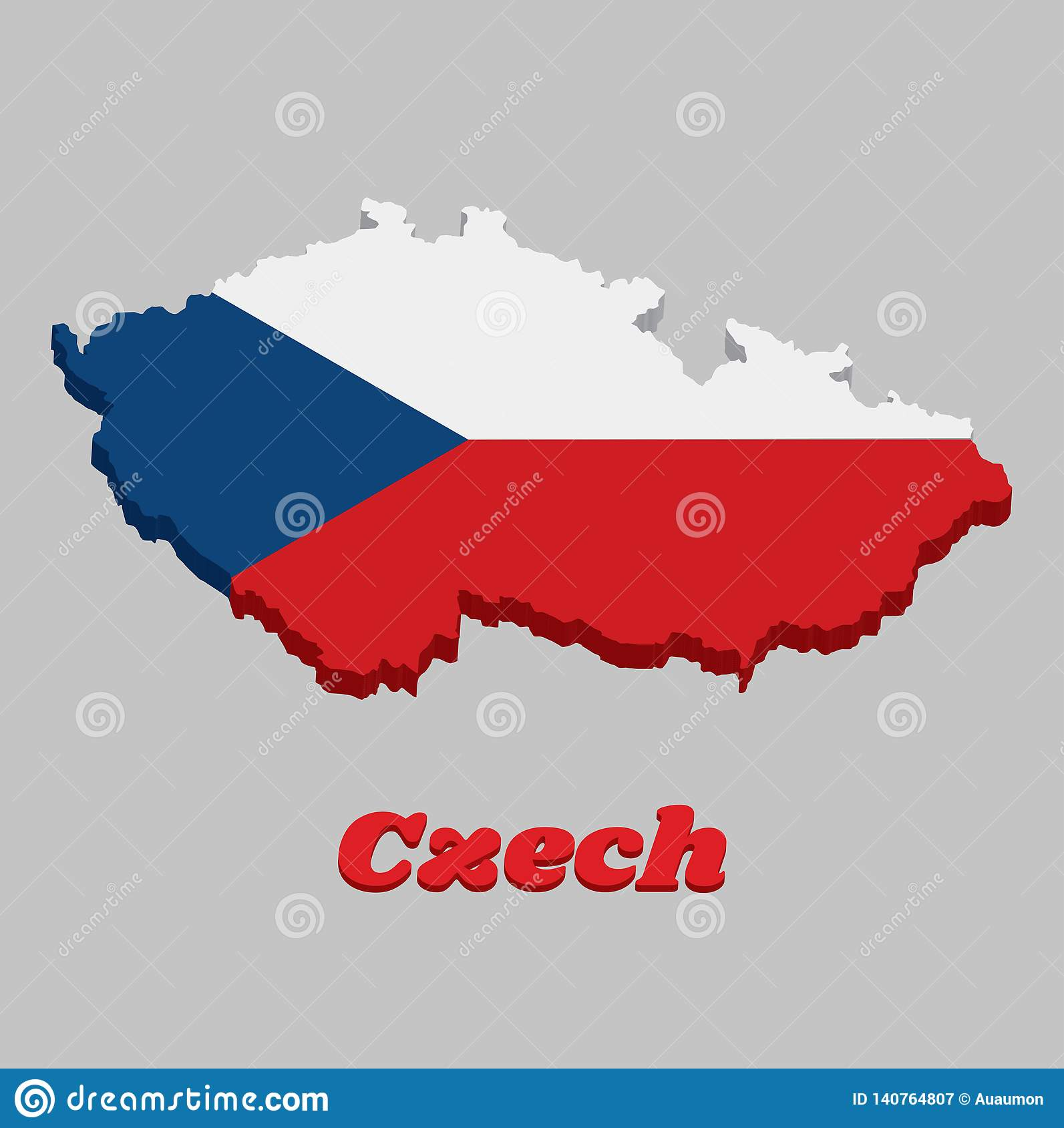 3D地图捷克的概述和旗子,两条相等的水平的带白色顶面和红色与基于的一个蓝色等腰三角形