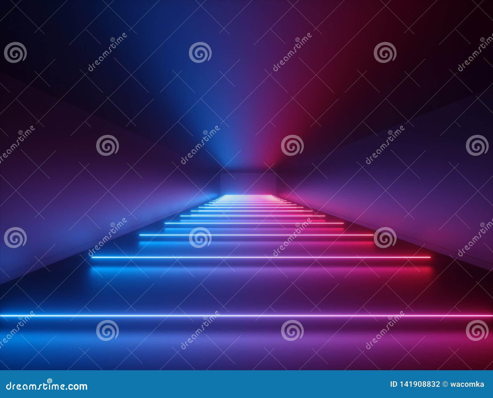 3d回报,发光的线,霓虹灯,抽象荧光的背景,走廊,隧道,紫外,光谱充满活力的颜色