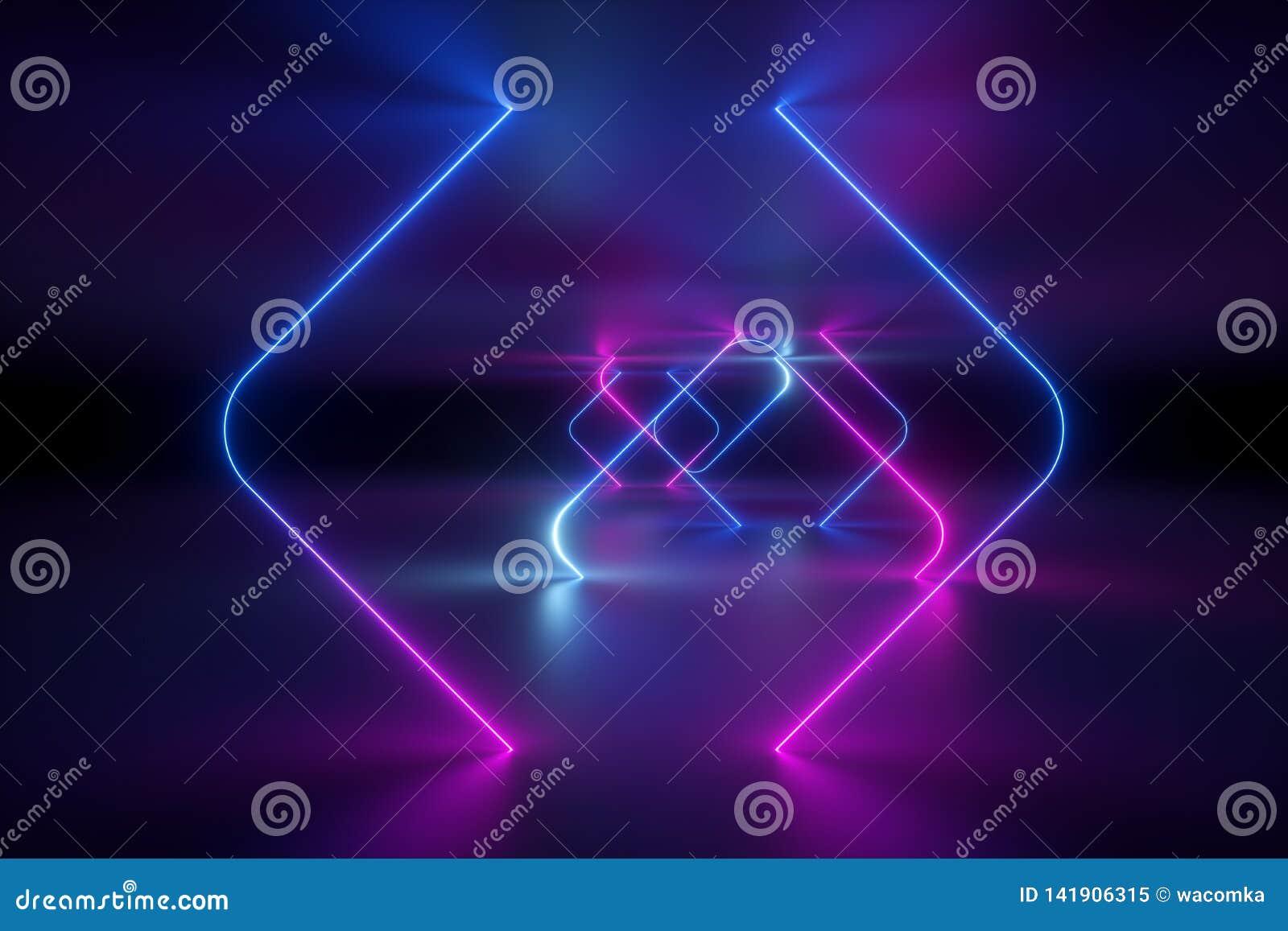 3d回报,抽象背景,紫外霓虹灯,虚拟现实,发光的线,隧道,桃红色蓝色充满活力的颜色,激光