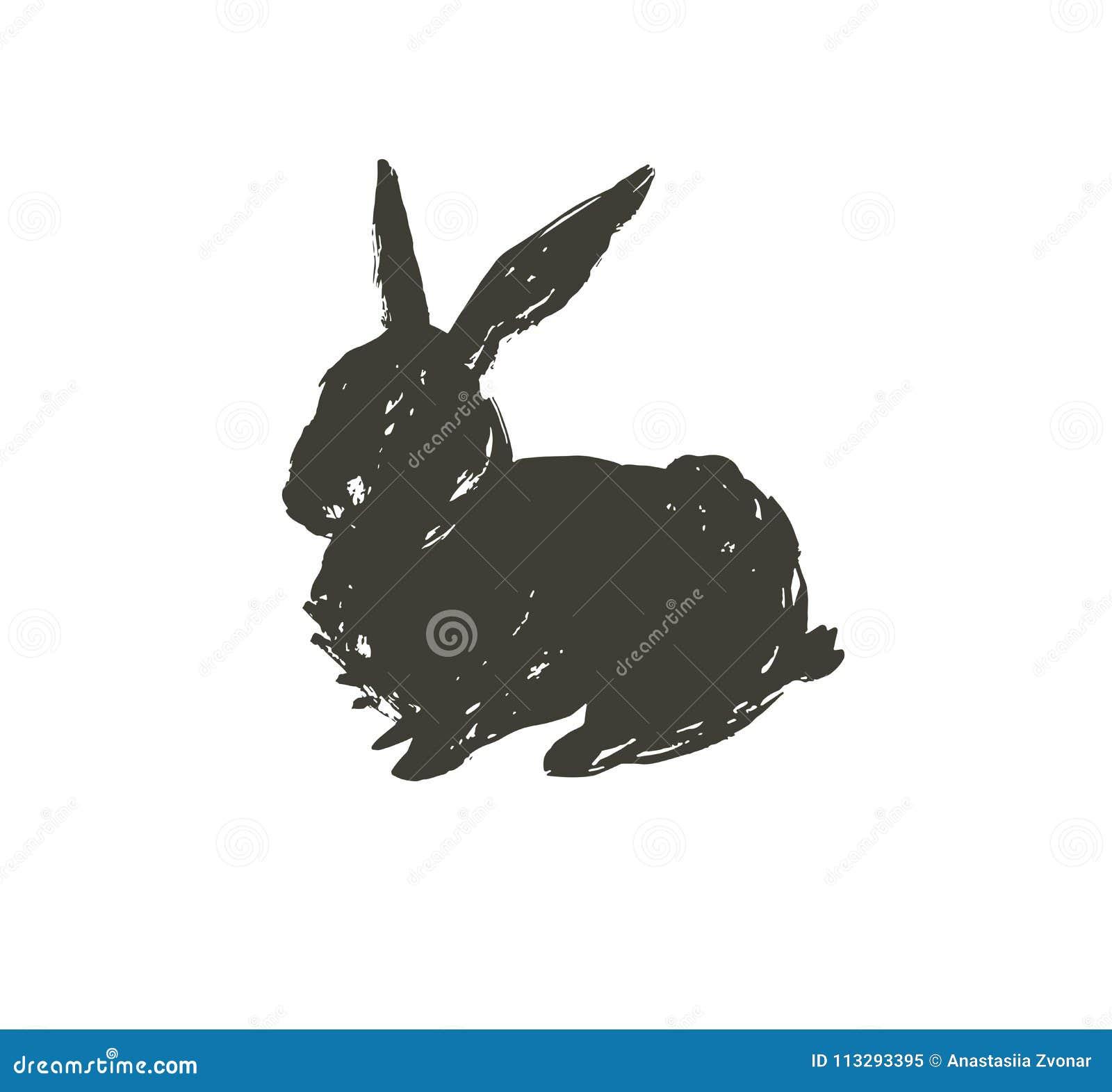 Dé a bosquejo exhausto del extracto del vector el sihouette negro texturizado escandinavo gráfico de la tinta a pulso Pascua feli