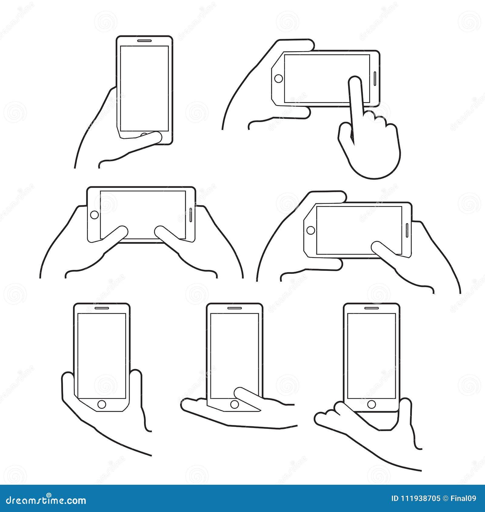 Dé a controles un teléfono elegante en la posición vertical y horizontal