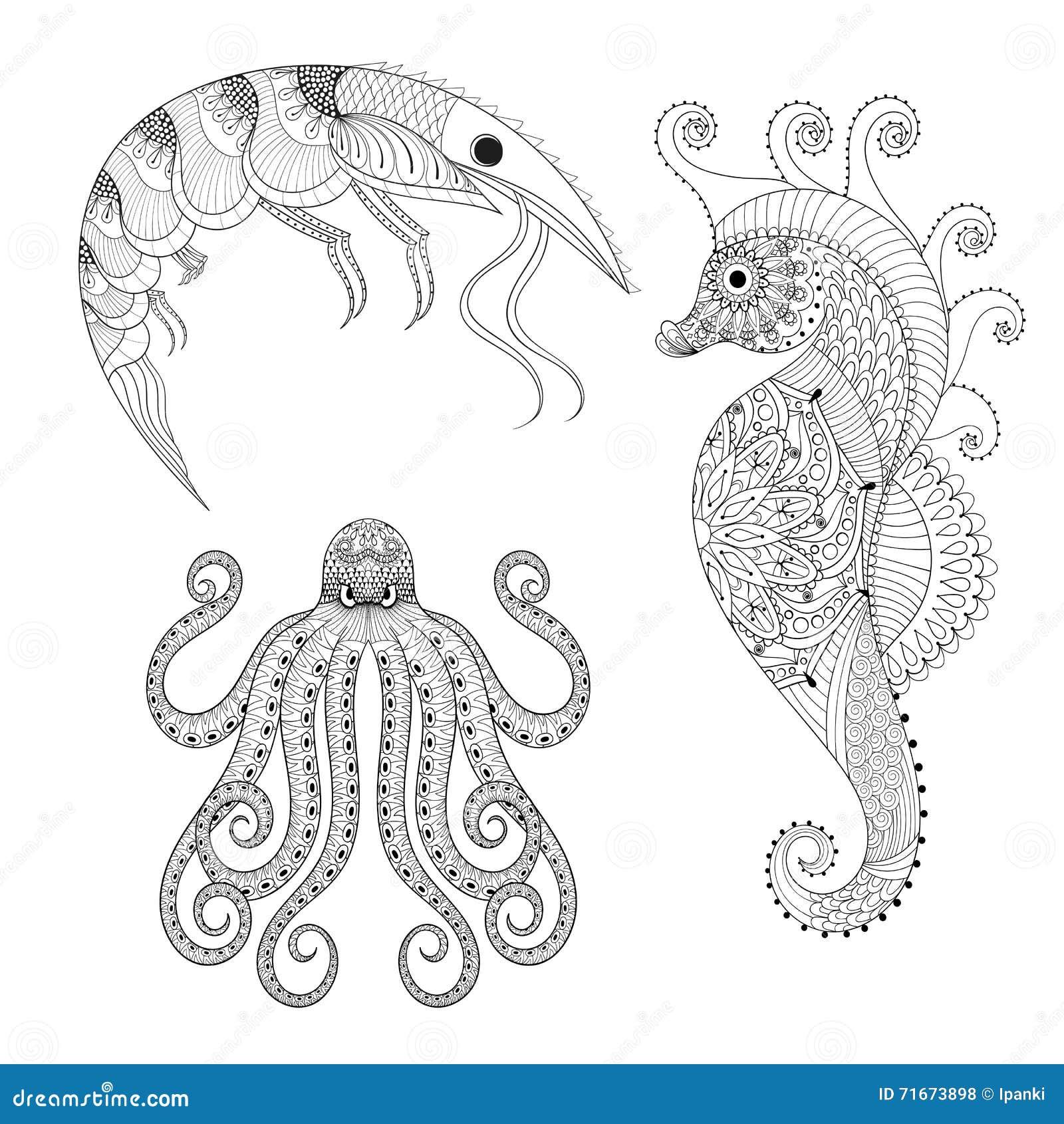 Bosquejo Del Caballo De Mar Ilustraciones Stock, Vectores, Y Clipart ...