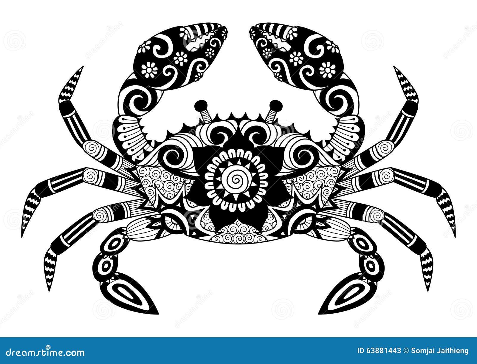 Diseño Del Tatuaje Del Cangrejo Ilustración del Vector - Ilustración ...