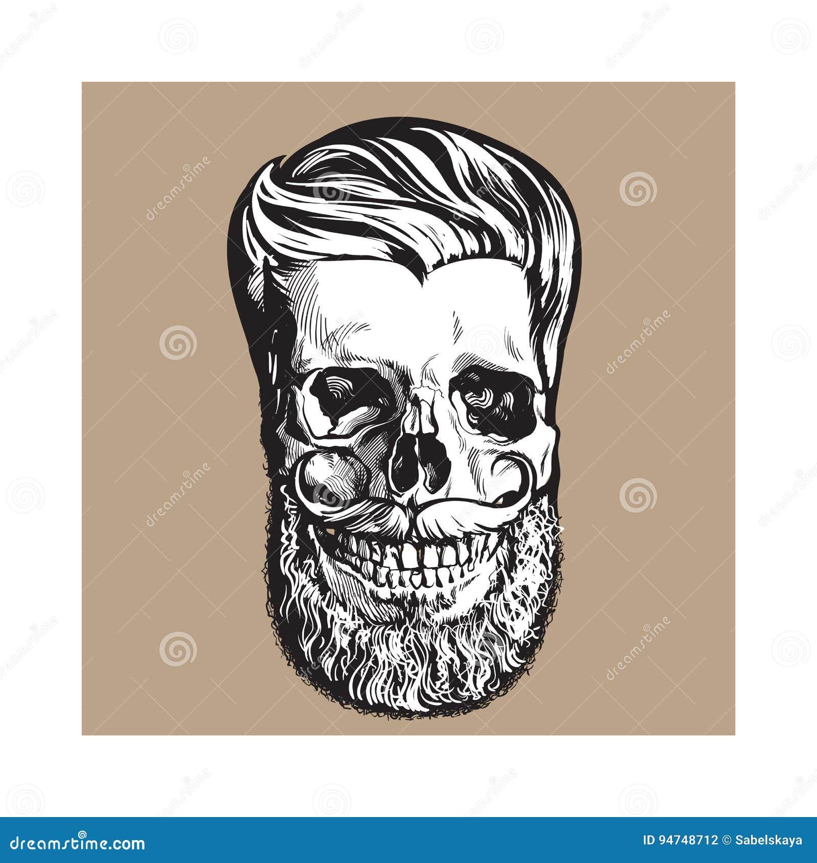 Dé El Cráneo Humano Exhausto Con El Peinado, La Barba Y El Bigote ...