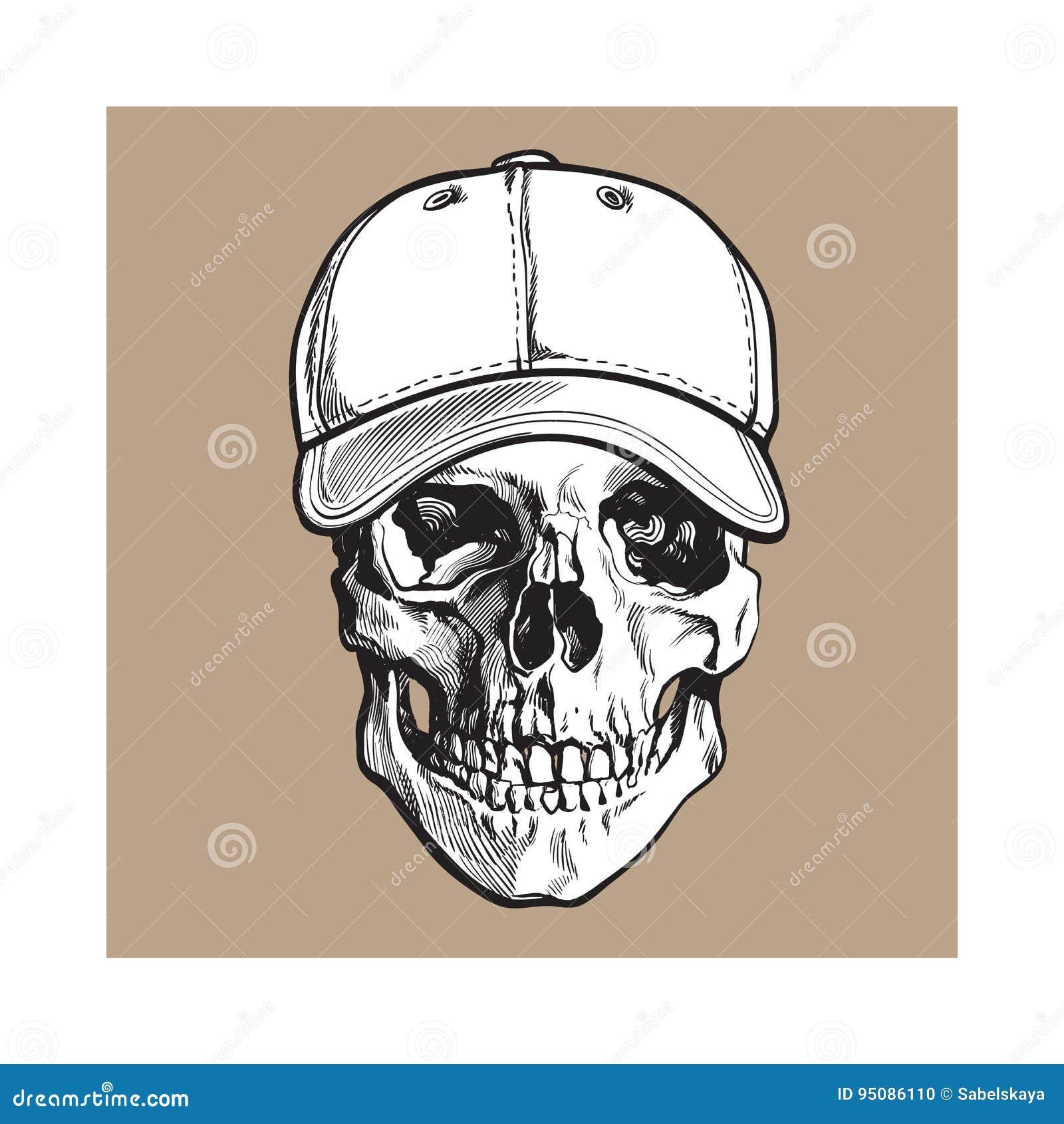Dé El Cráneo Humano Exhausto Que Lleva La Gorra De Béisbol Sin ...
