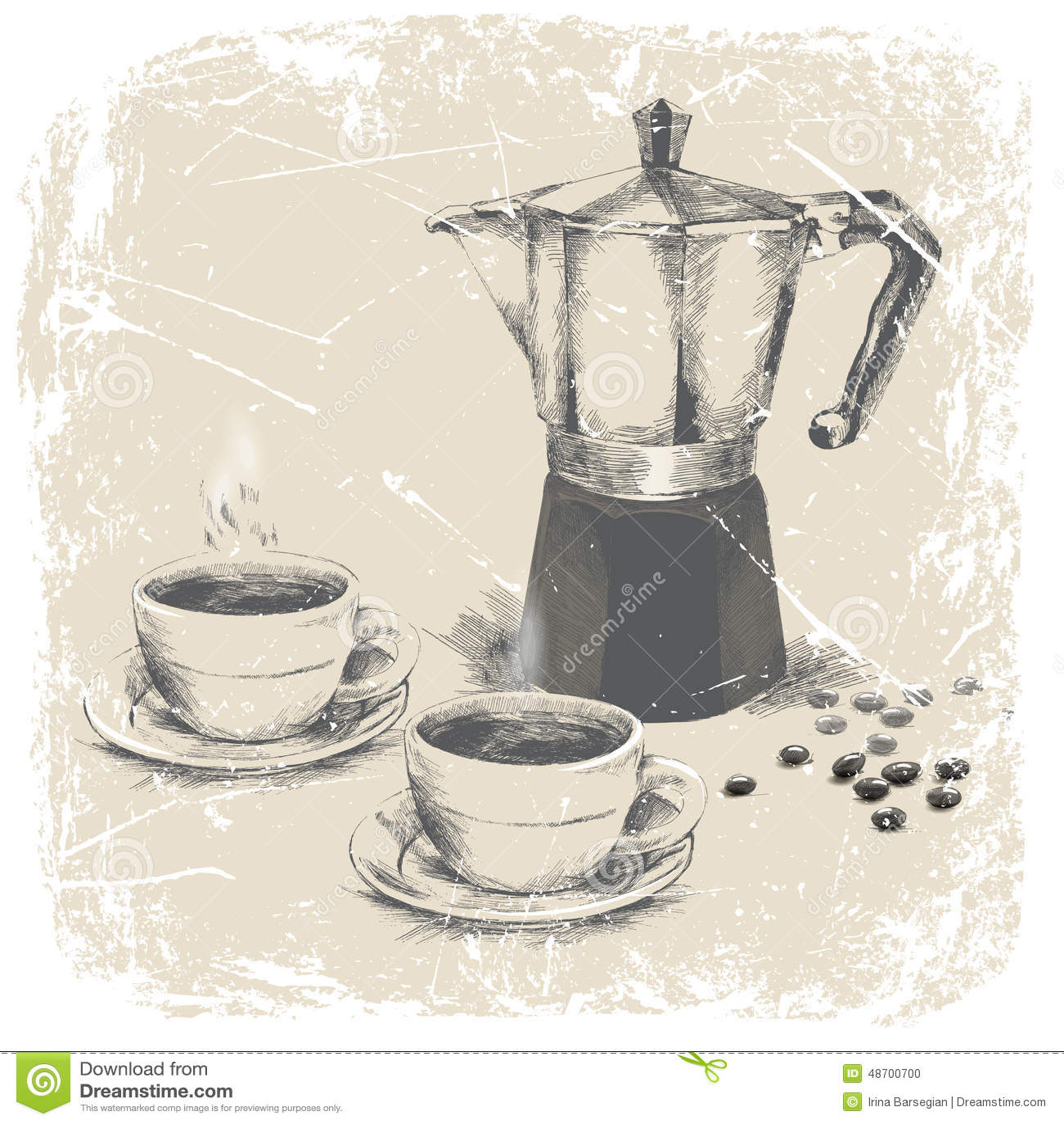 Dé El Dibujo Del Fabricante De Café Y De Dos Tazas De Café Con El ...