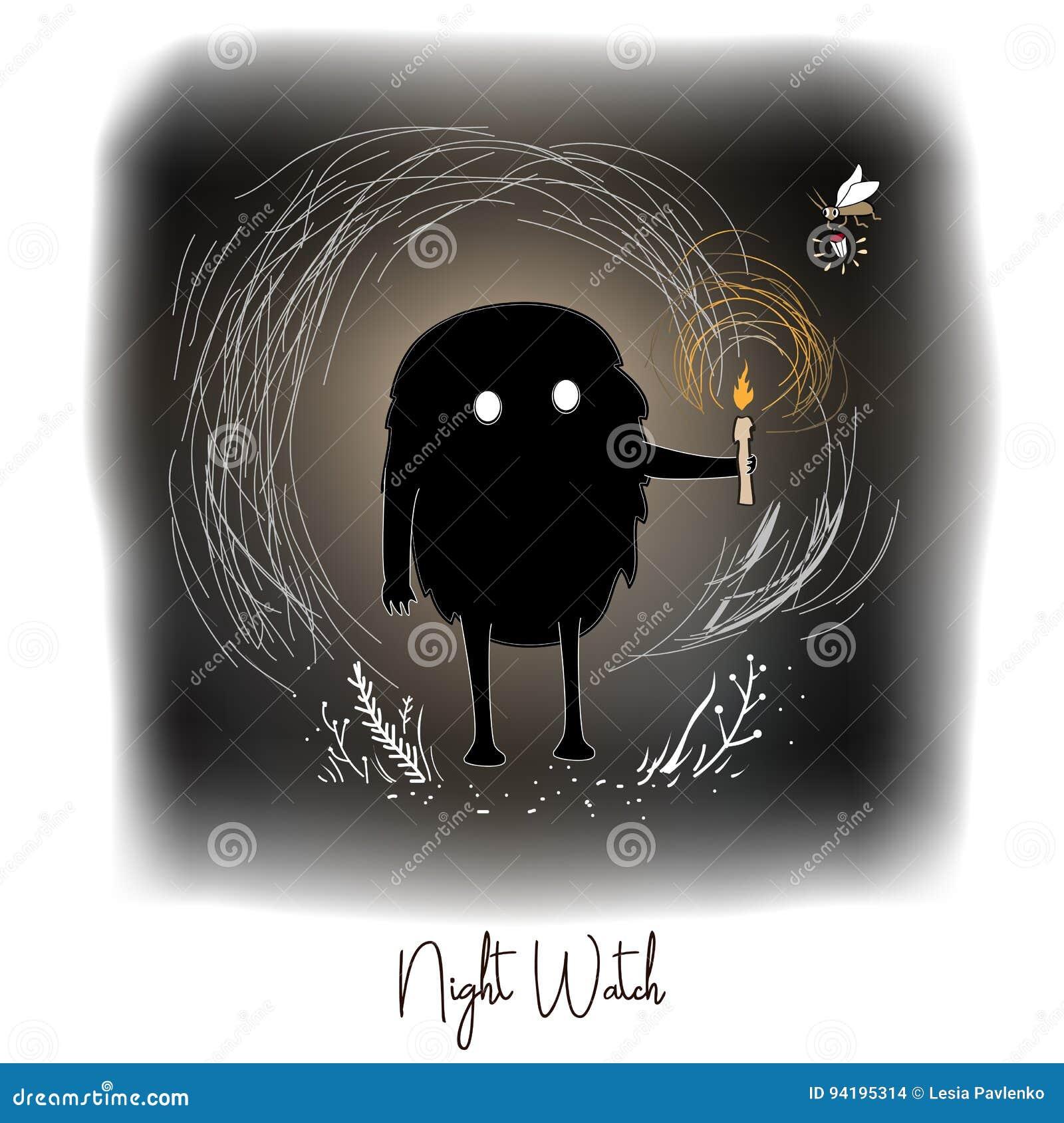 Dé el ejemplo creativo artístico exhausto de las ilustraciones con el monstruo lindo negro con la vela en bosque de hadas de la n