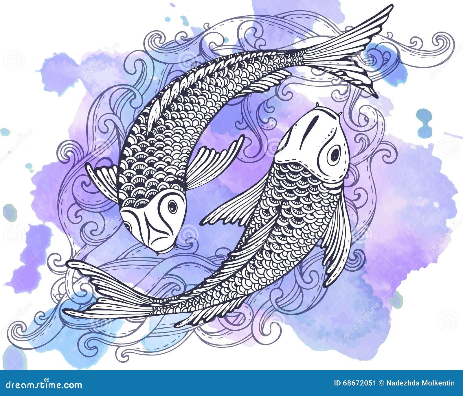Dé el ejemplo exhausto del vector de dos pescados de Koi (la carpa japonesa)
