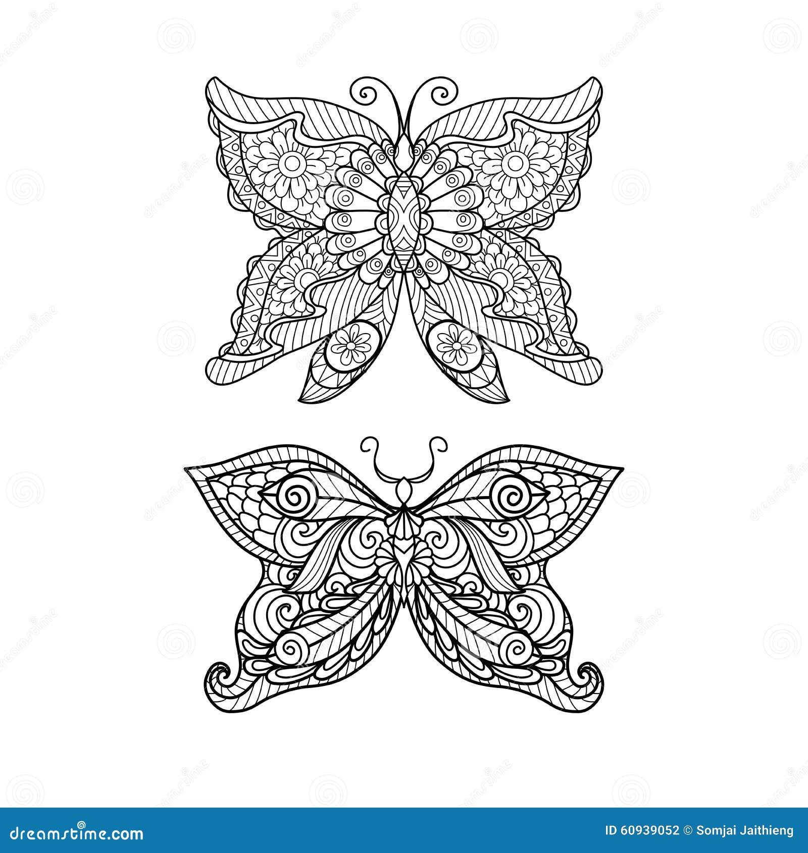Dé El Estilo Exhausto Del Zentangle De La Mariposa Para El Libro De ...