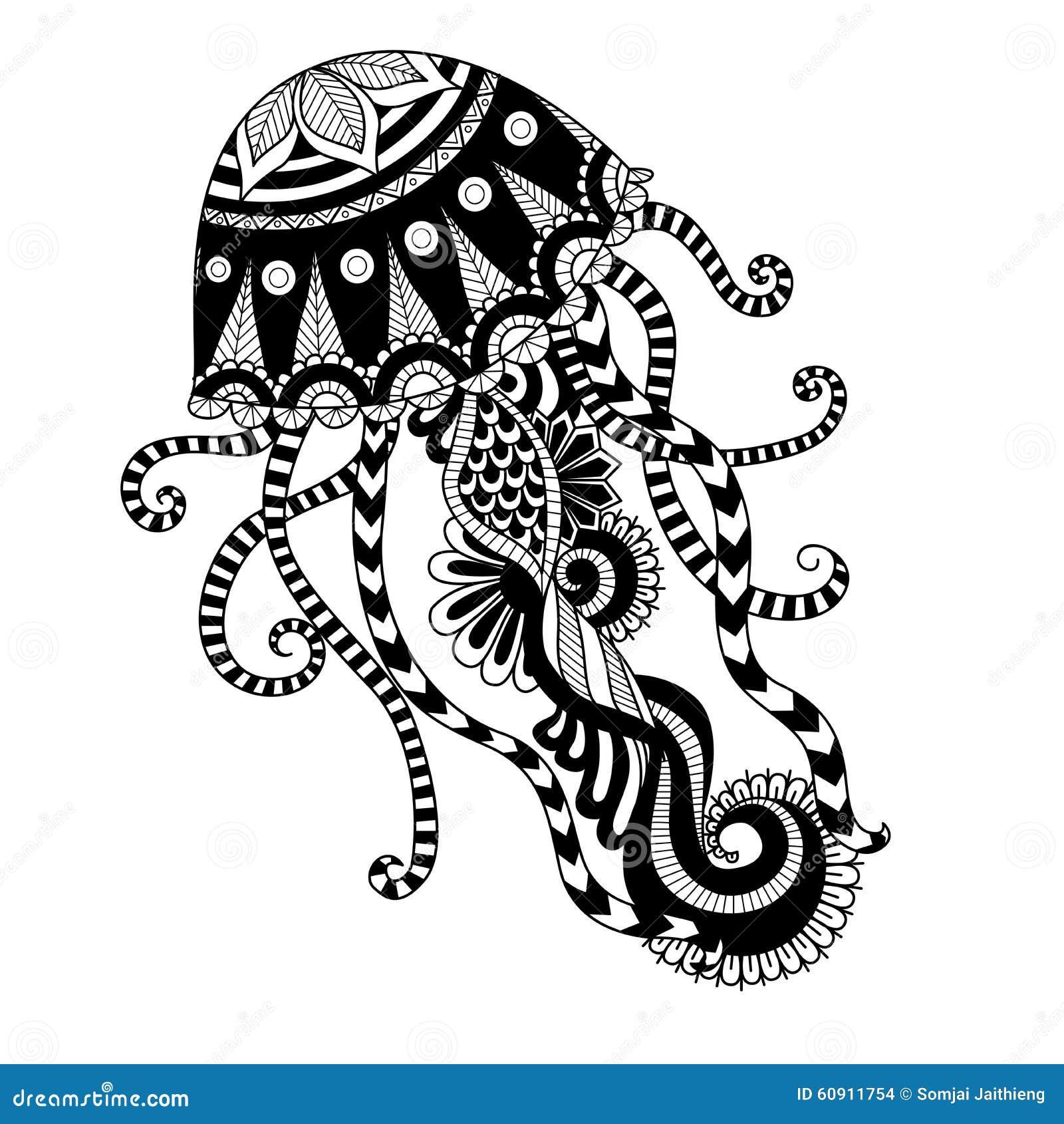Dé El Estilo Exhausto Del Zentangle De Las Medusas Para El
