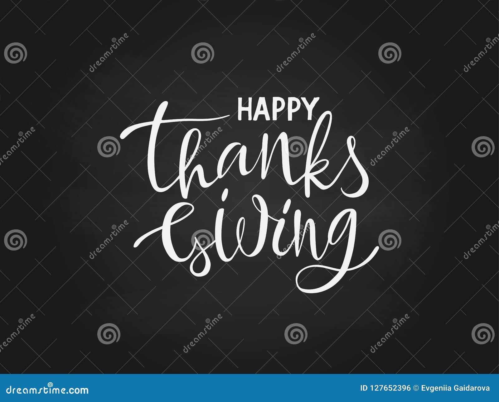 Dé el negro feliz exhausto del cartel de la tipografía de las letras de la acción de gracias