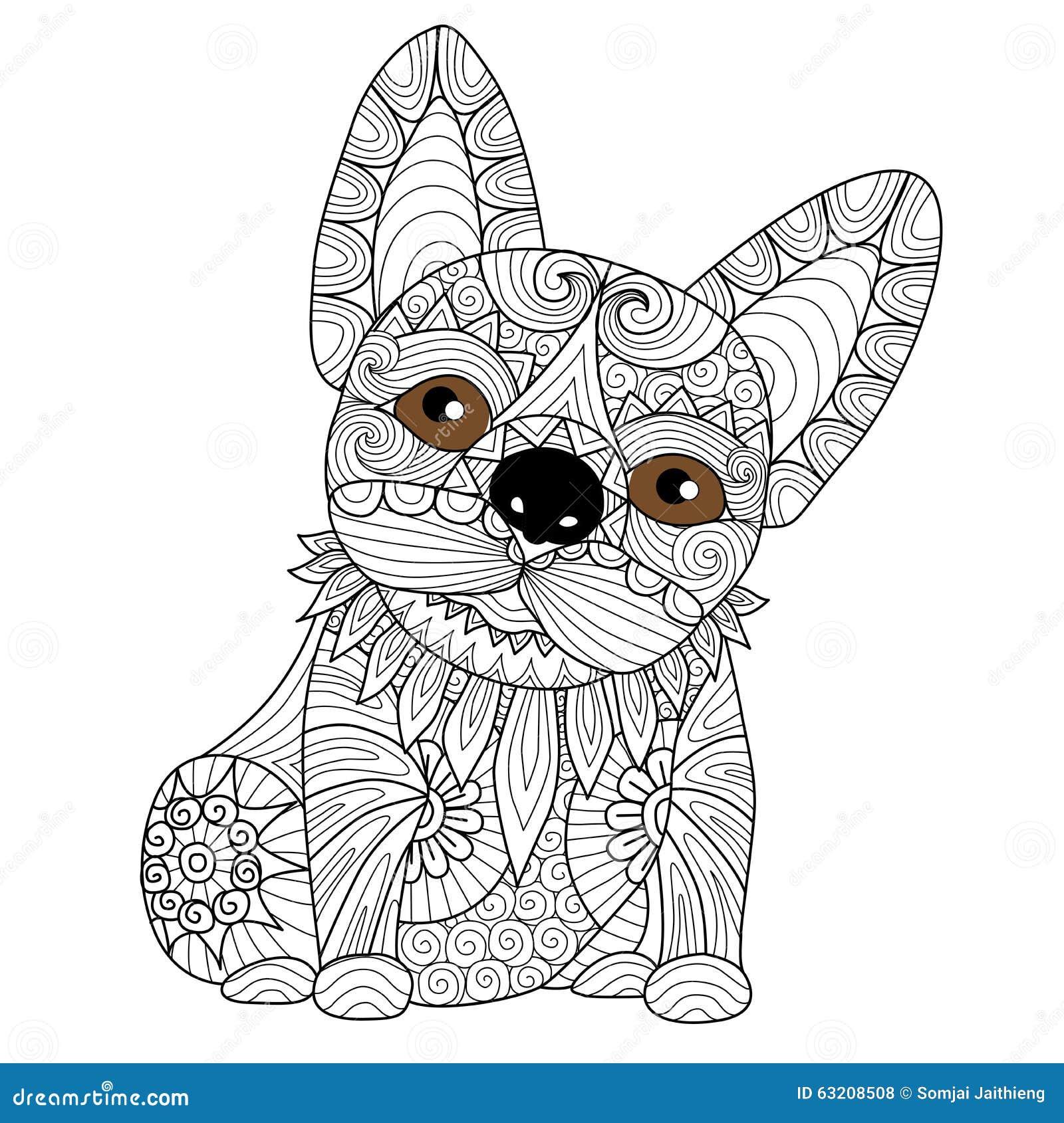 Dé El Perrito Exhausto Del Dogo Para El Libro De Colorear Para El