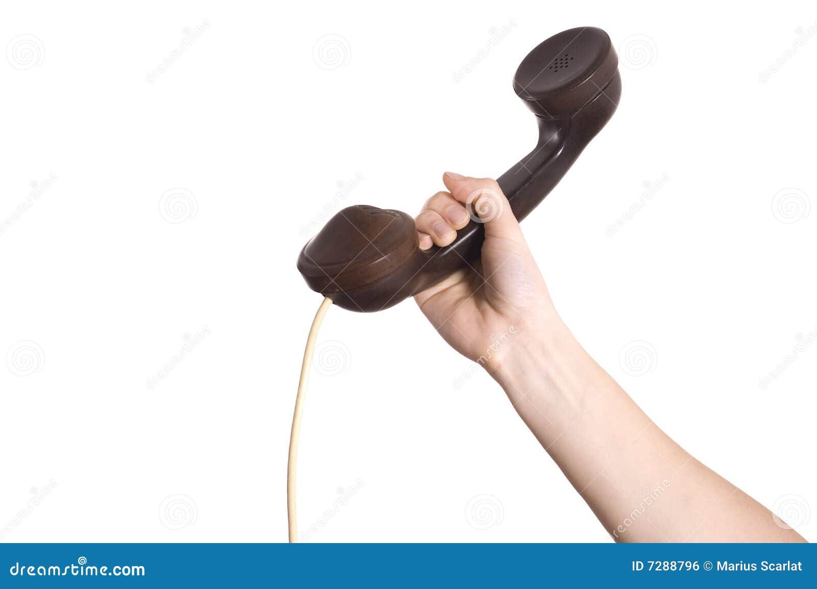 Dé el receptor de teléfono de la explotación agrícola