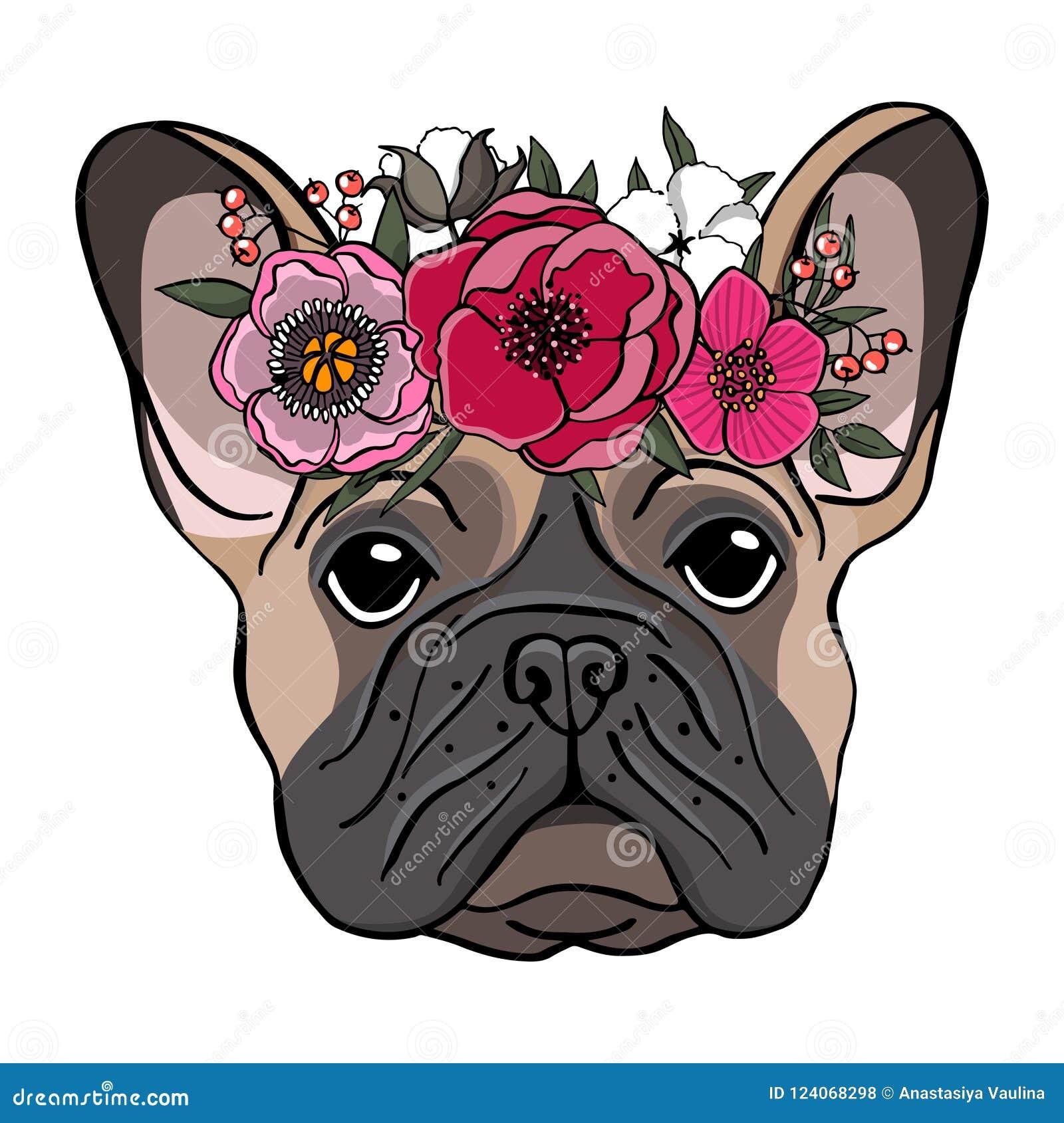 Dé el retrato exhausto de un dogo francés con la guirnalda de flores