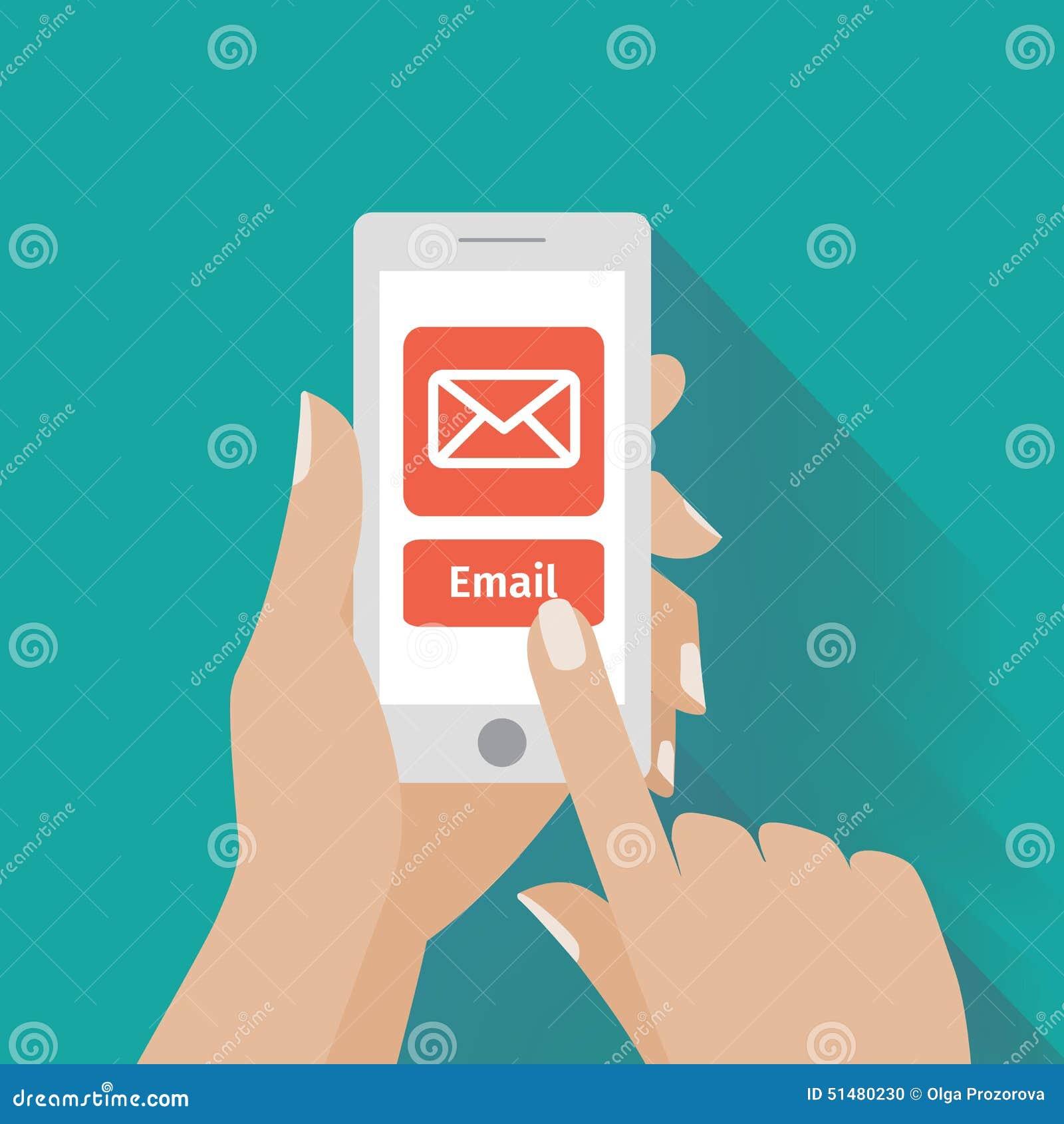 Dé el teléfono elegante conmovedor con símbolo del correo electrónico en