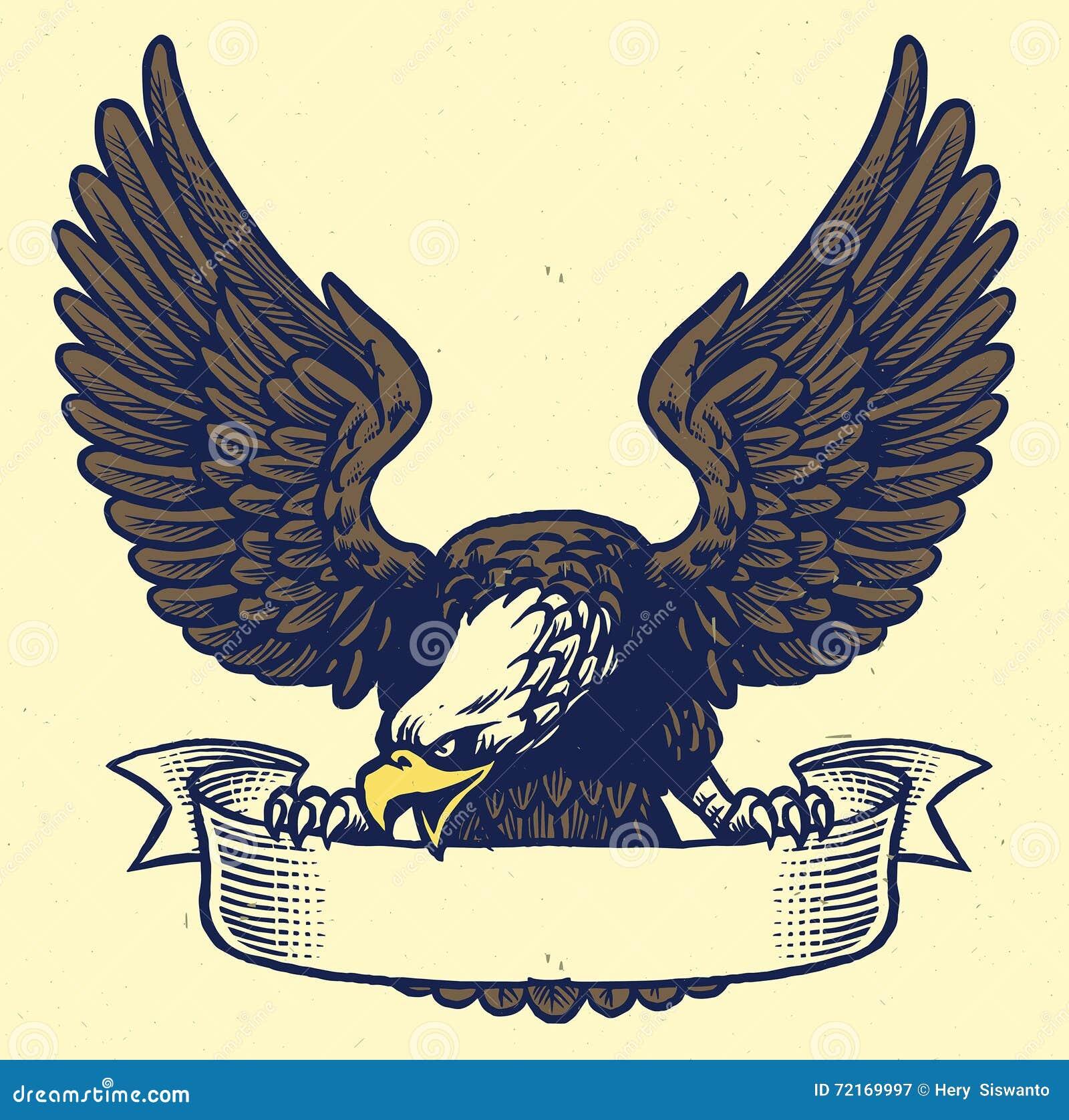 Dé a estilo del dibujo del apretón del águila la cinta