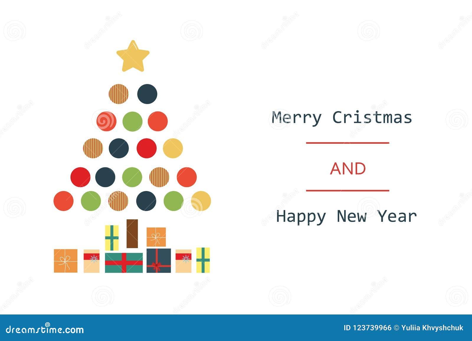 Dé a extracto exhausto del vector la Feliz Navidad y los nuevos ejemplos felices de la historieta del vintage del año