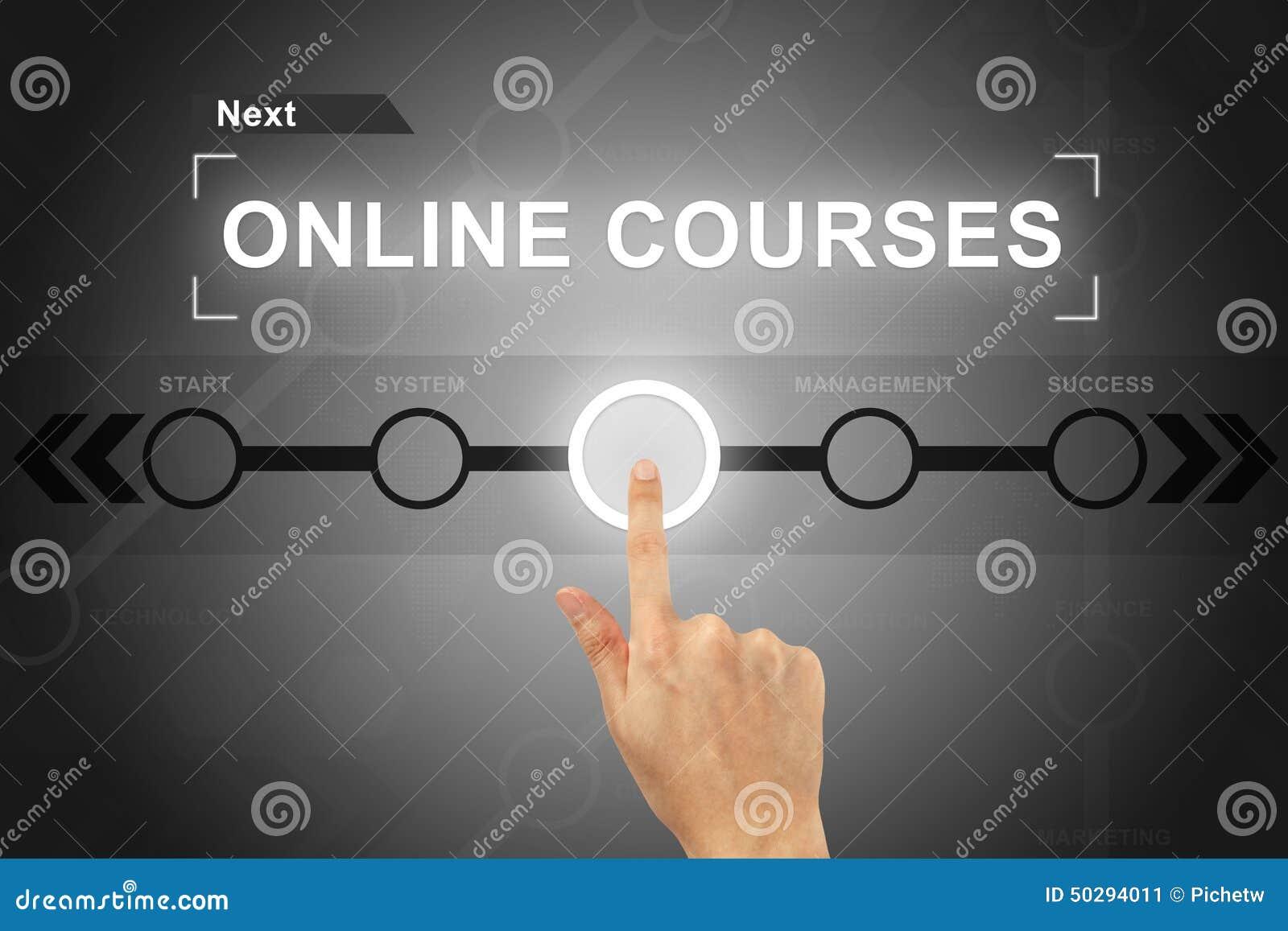 Dé hacer clic el botón en línea de los cursos en un interfaz de la pantalla