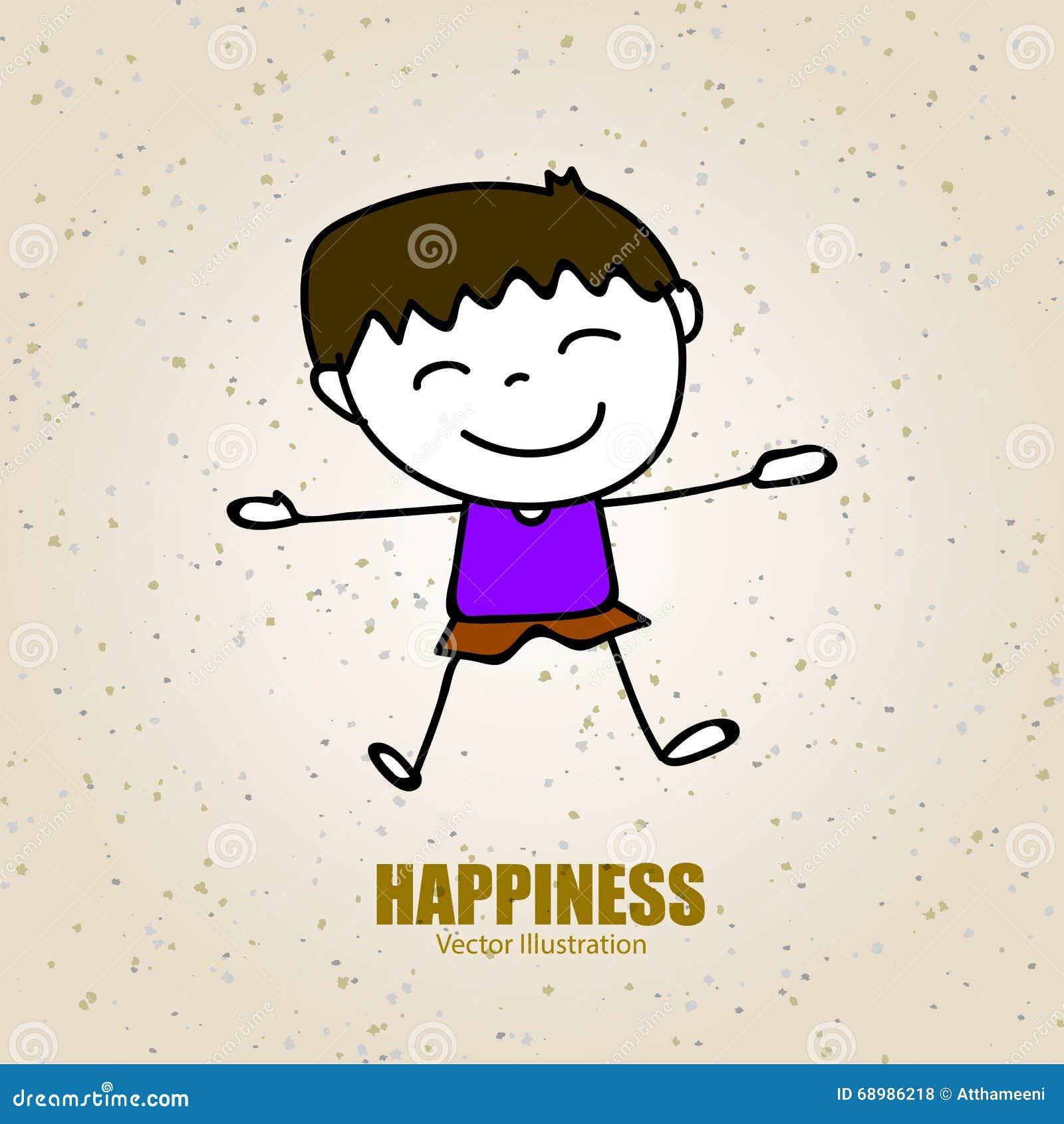 Dé a historieta del dibujo la gente feliz muchacho feliz con el hap feliz de la sonrisa