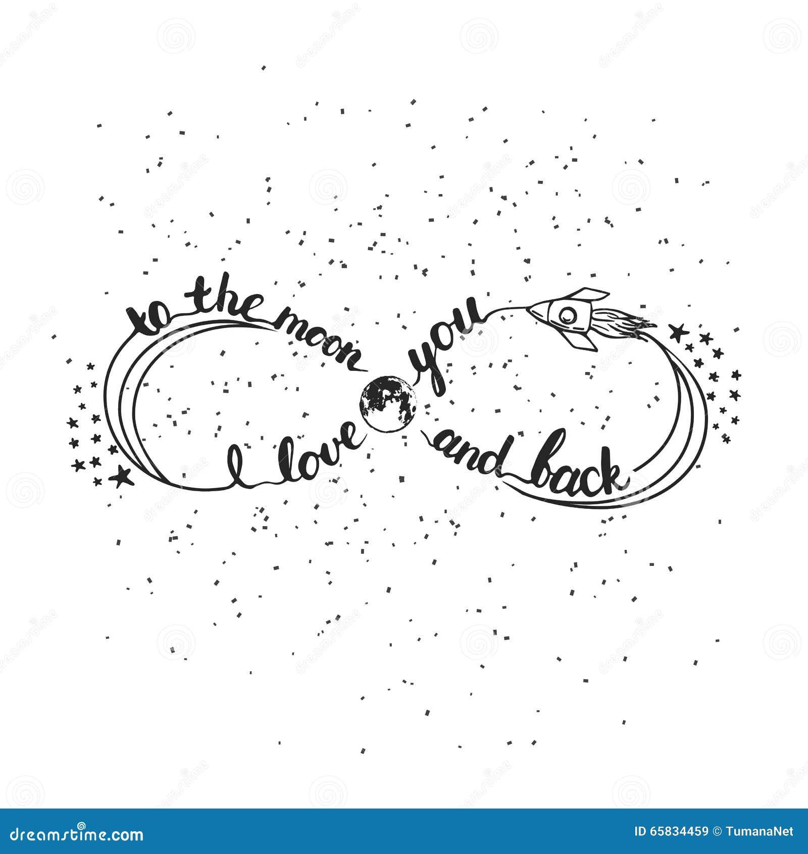 Dé la frase exhausta de las letras de la tipografía te amo a la luna y a la parte posterior Símbolo del infinito para el día de S