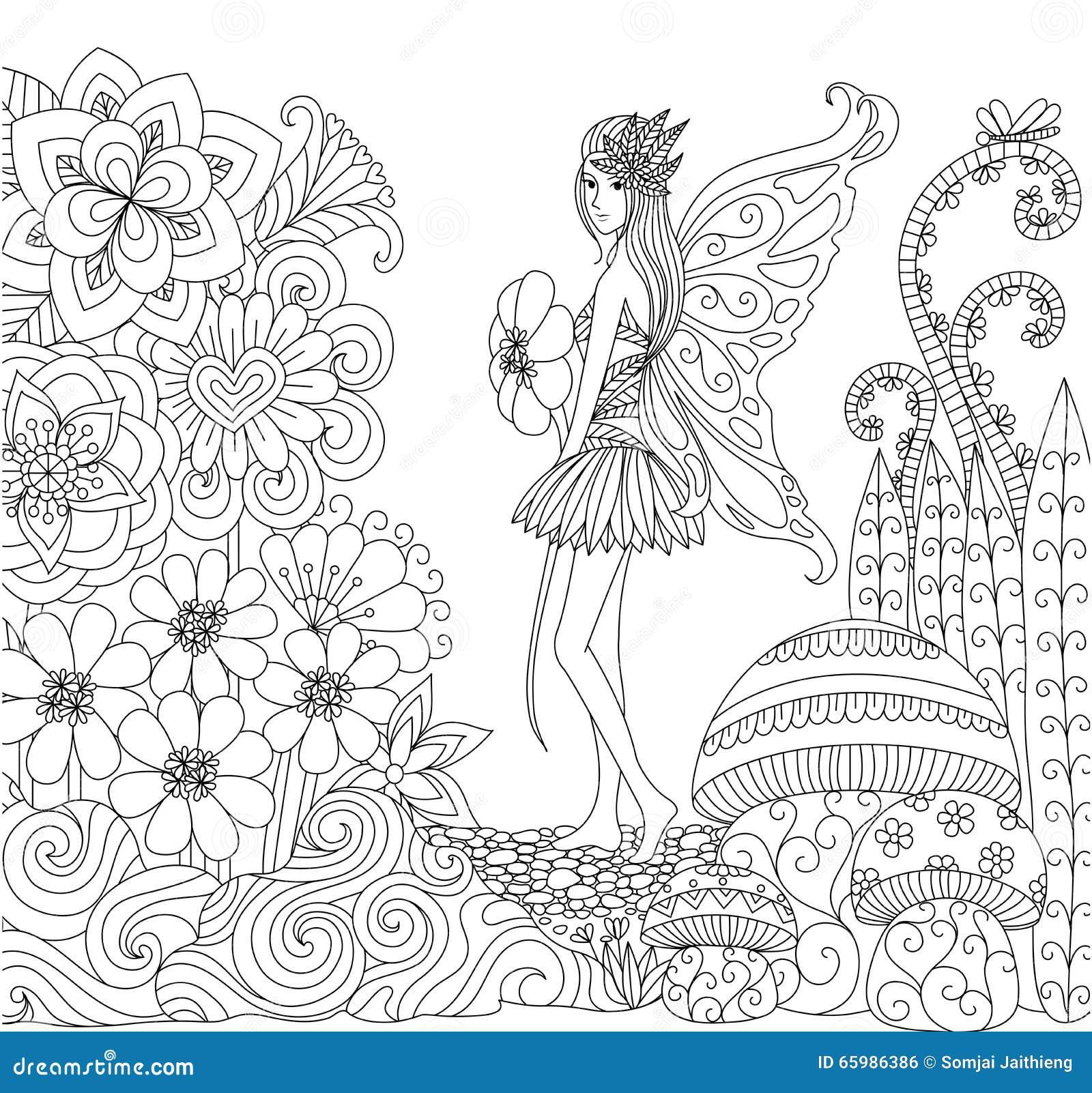 Dé La Hada Exhausta Que Camina En La Tierra De Las Flores Para El ...