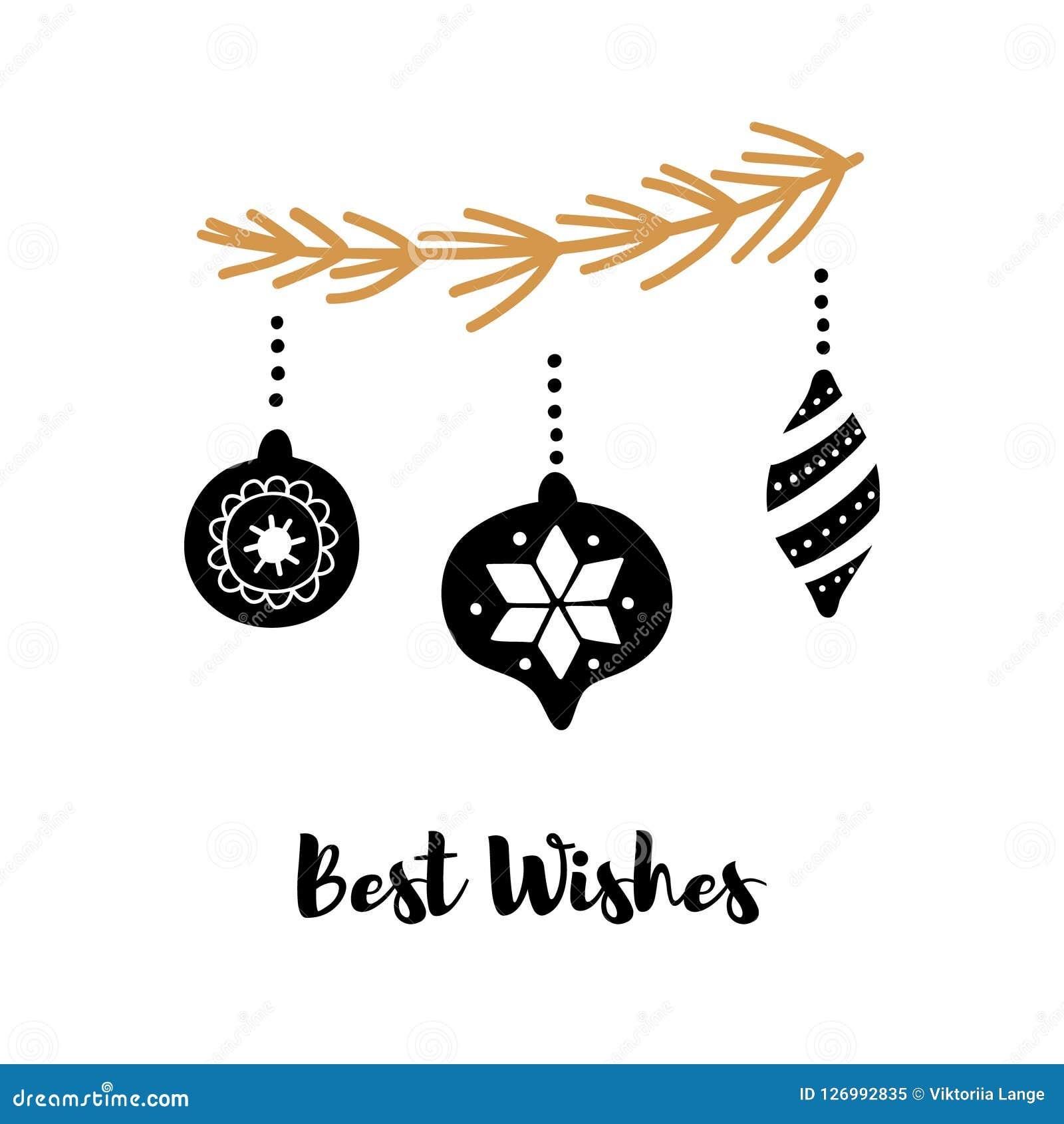 Dé la tarjeta de felicitación exhausta con la inscripción Un saludo por Año Nuevo y la Navidad