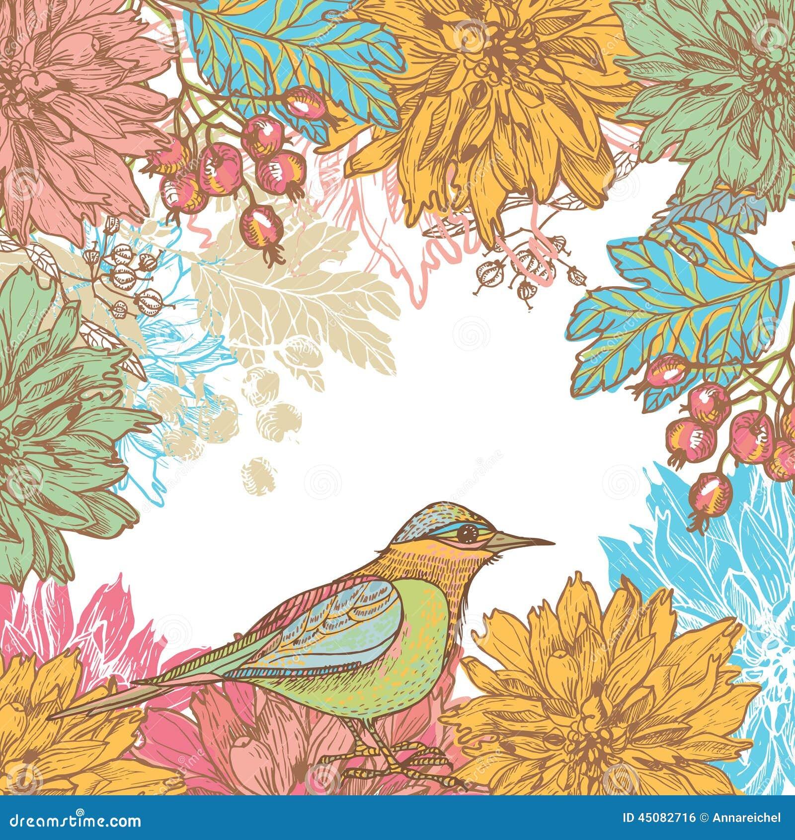 Dé las flores y el pájaro exhaustos de la dalia tarjeta retra