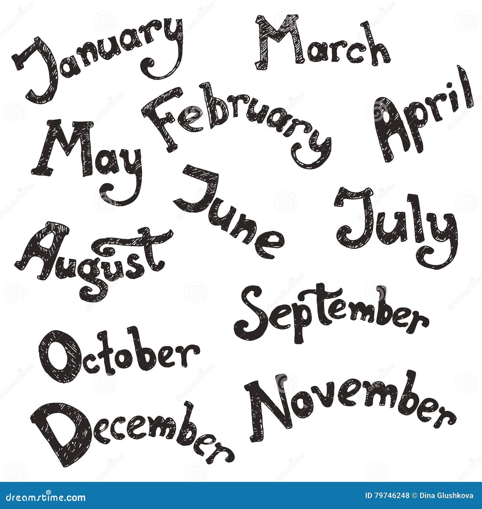 Dé las letras exhaustas del vector - meses del año