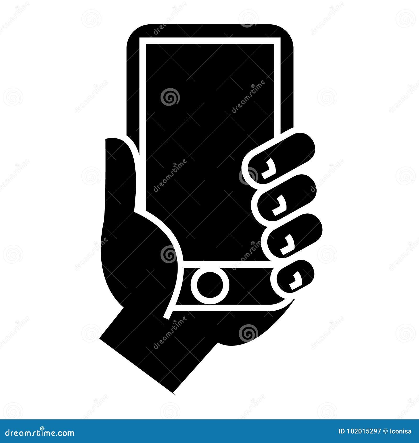 Dé llevar a cabo el icono del teléfono, ejemplo del vector, muestra negra en fondo aislado