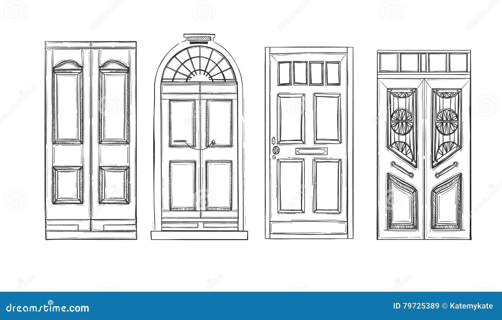 Dé los ejemplos exhaustos del vector - puertas viejas del vintage aislado encendido