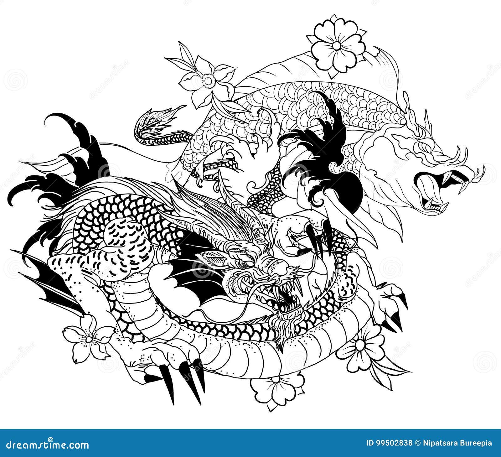 De Los Pescados Exhaustos Del Dragon Y Del Koi Con El Tatuaje Para