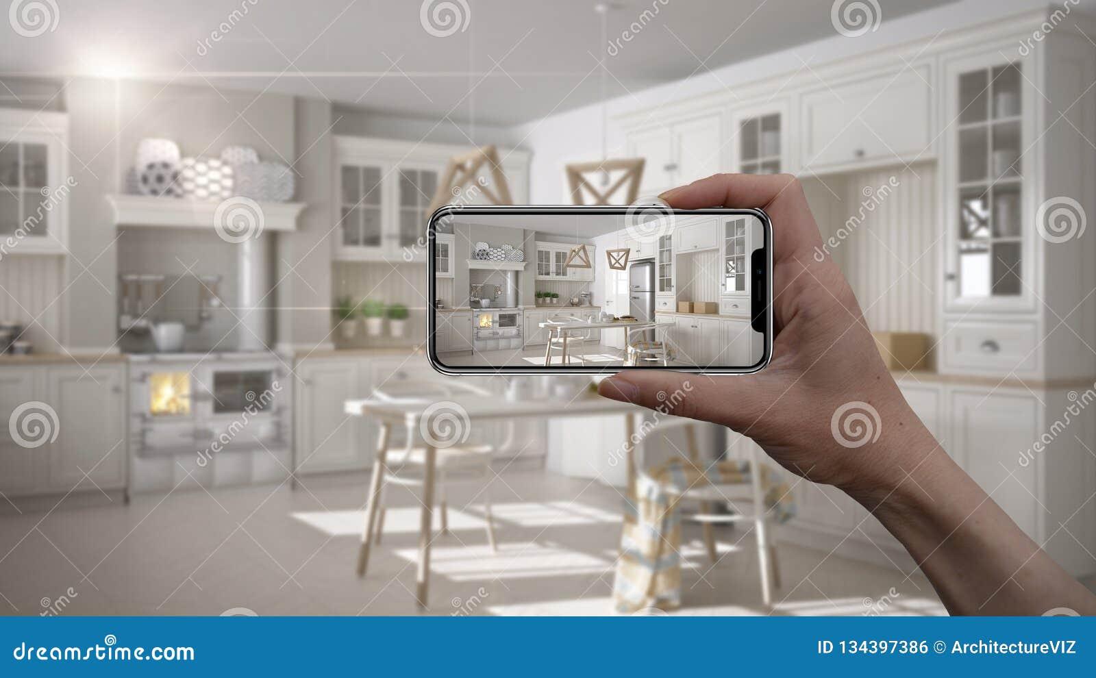 Dé sostener el teléfono elegante, uso de AR, simule los muebles y los productos del diseño interior en el hogar real, concepto de