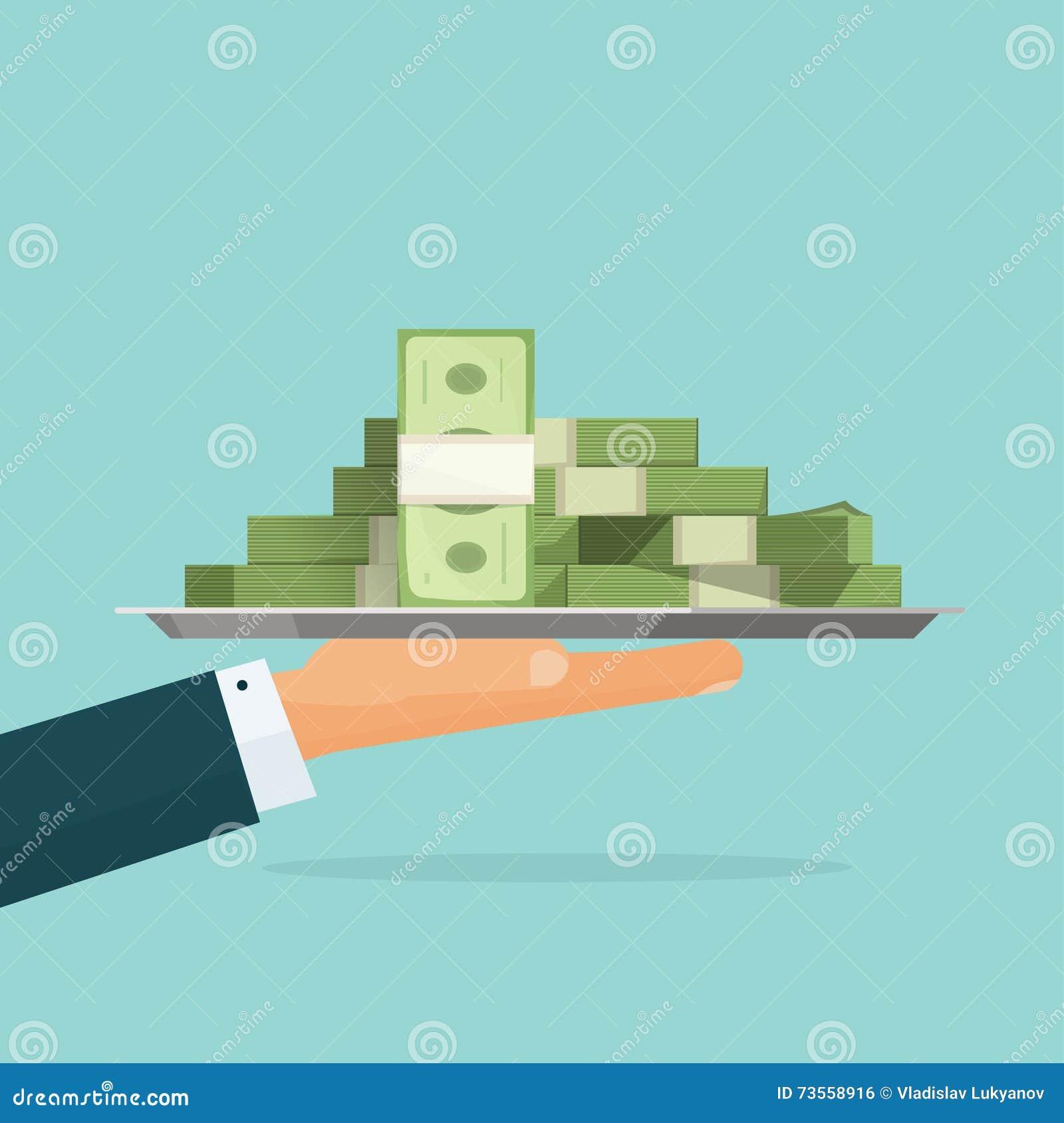 Dé sostener la pila grande de vector del efectivo del dinero, sueldo del préstamo