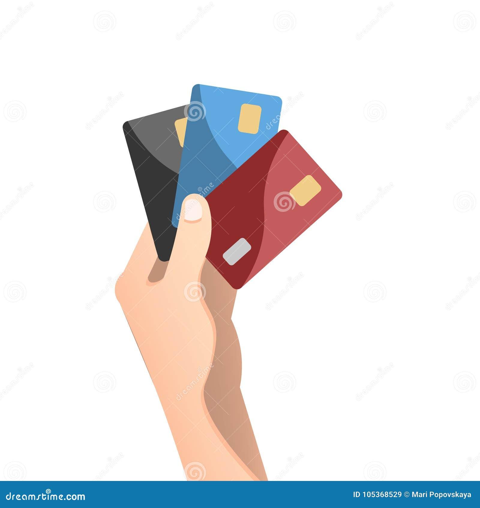 Dé sostener la tarjeta de crédito en estilo plano del diseño