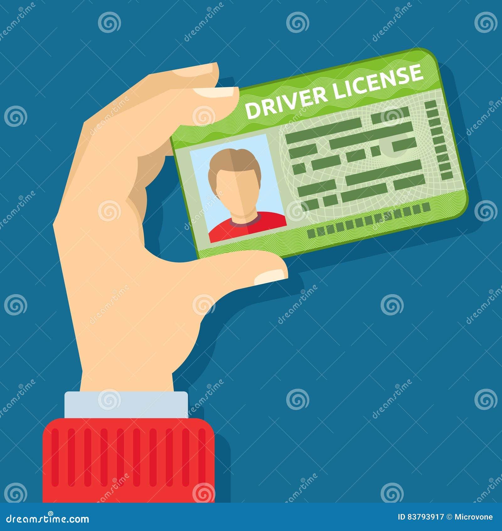 Dé sostener la tarjeta de la identificación, ejemplo del vector de la licencia de la conducción de automóviles
