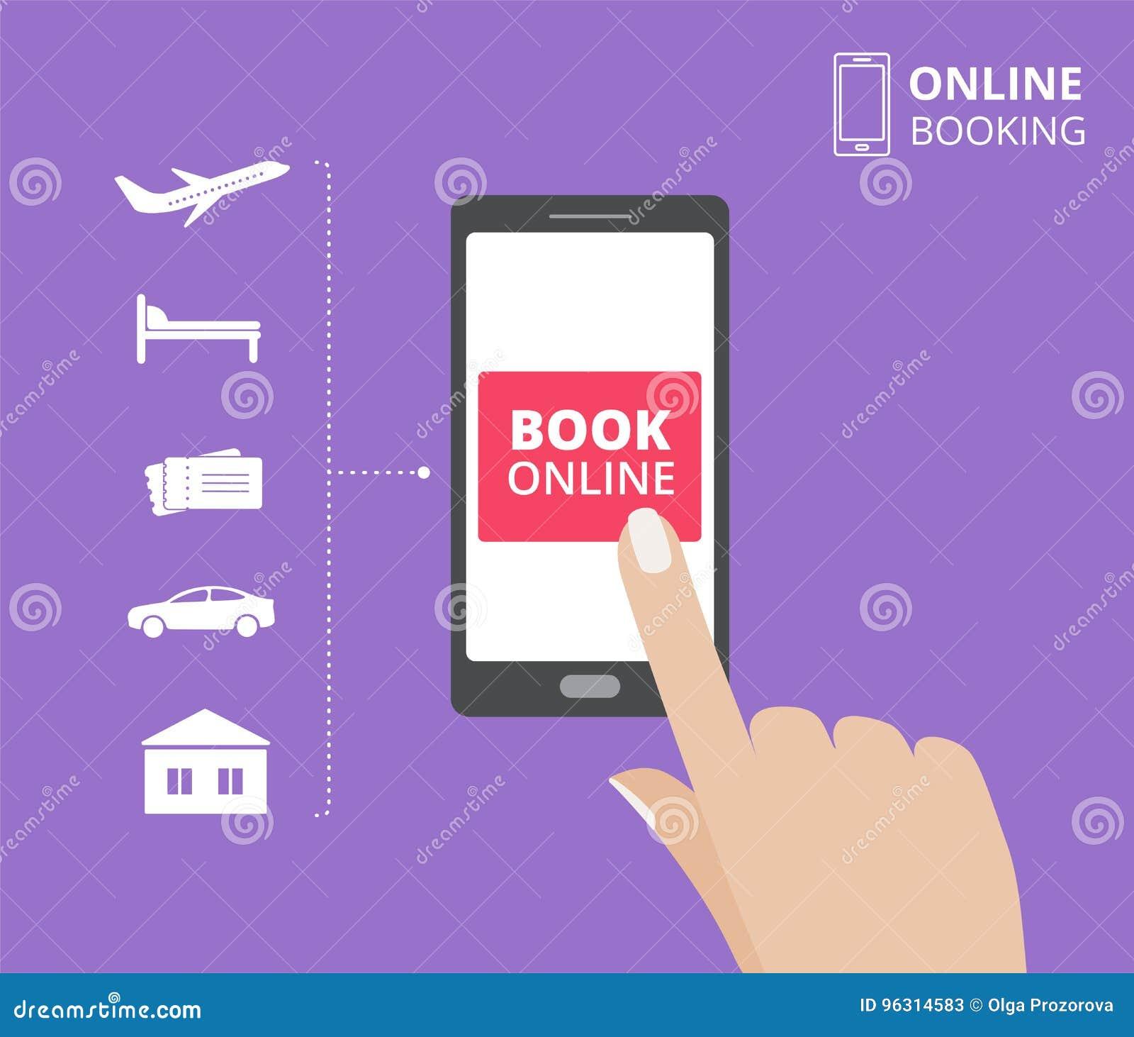 Dé sostener smartphone con el botón del libro en la pantalla Concepto de diseño en línea de la reservación hotel, vuelo, coche, b