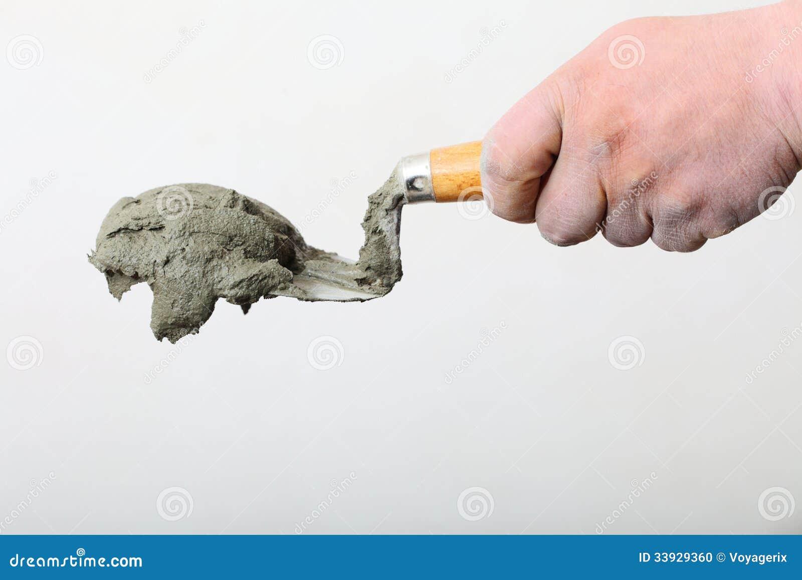 D sostener una paleta del cubo con el mortero del cemento for Mortero de cemento