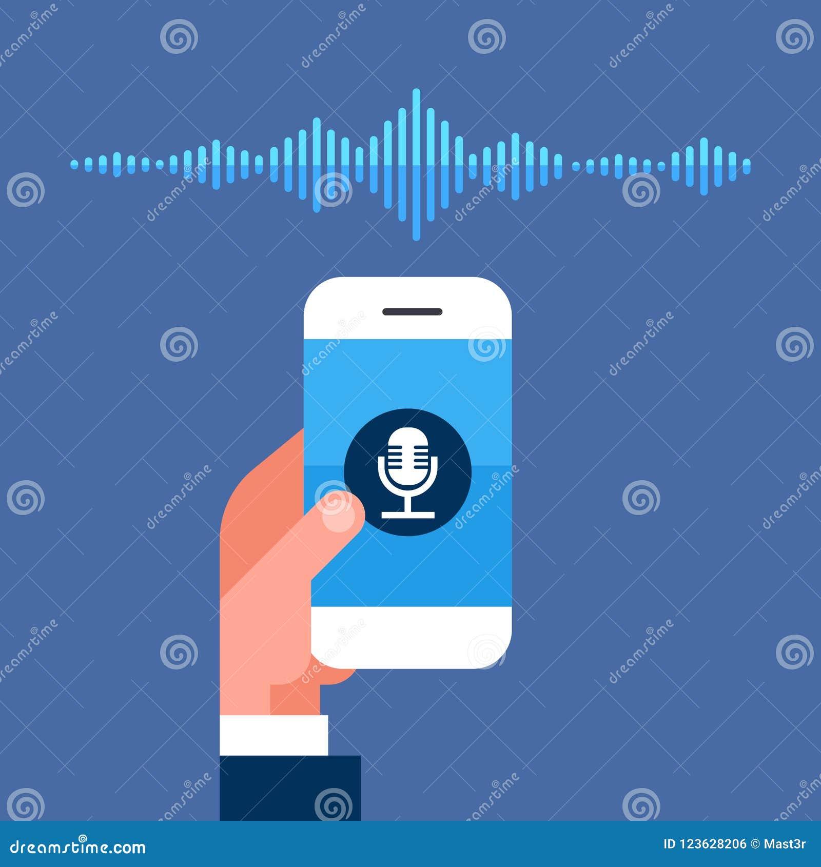 Dé a teléfono app del control la voz inteligente reconocimiento del ayudante personal concepto de la tecnología de las ondas acús
