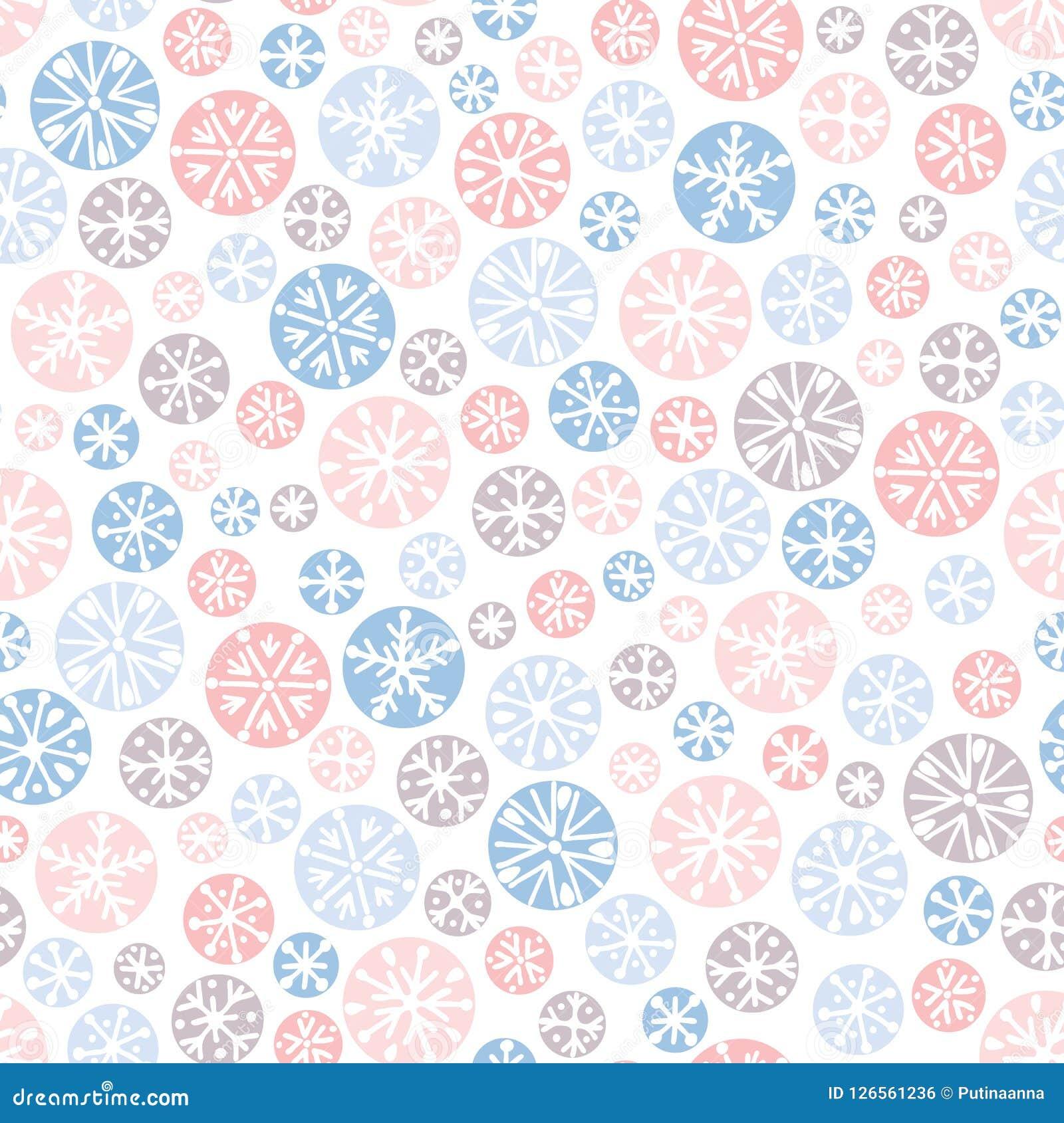 Dé a vector en colores pastel abstracto exhausto de los copos de nieve de la Navidad el fondo inconsútil del modelo Nordic de las