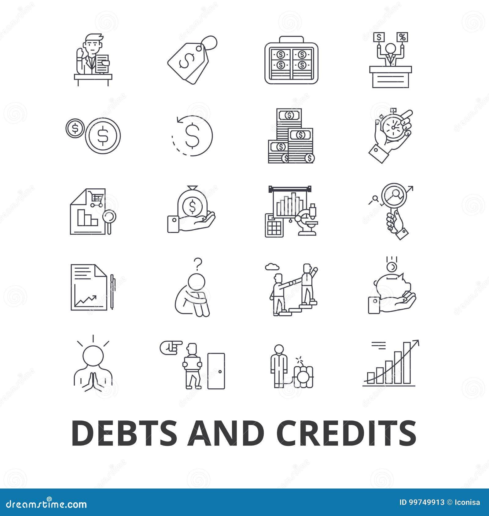 Débitos e créditos, dinheiro, falência, conta, riqueza, finança, linha financeira ícones do coletor Cursos editáveis liso
