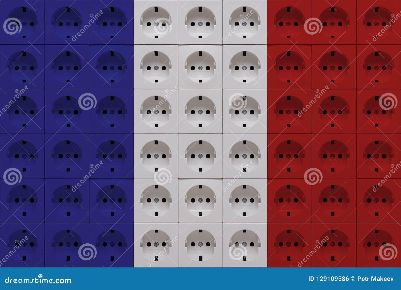 Débouchés électriques dans les couleurs du drapeau français