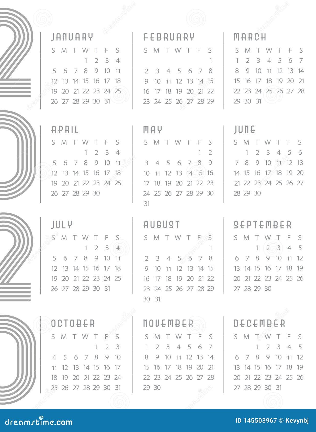 2020 débuts de calendrier dimanche Art Deco Whtie Gray moderne